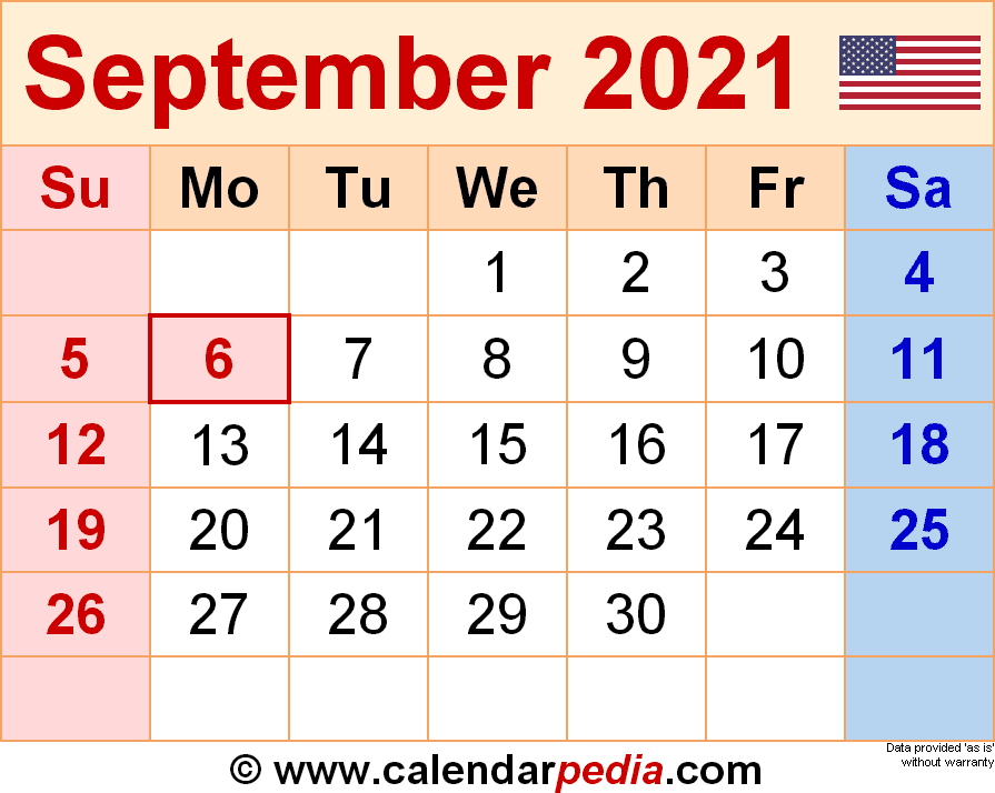 Images of Monthly Calendar 2021 September