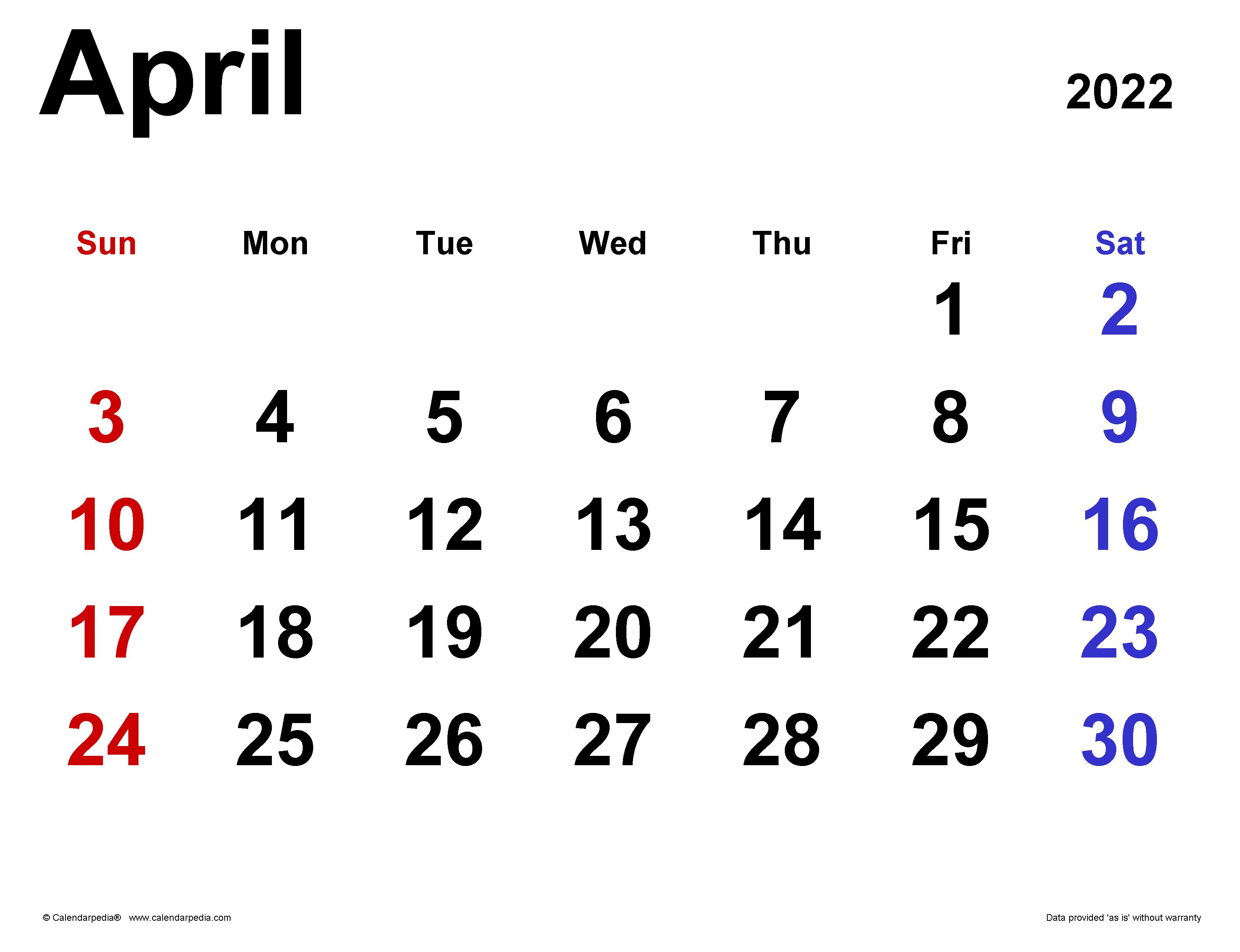 Apr 2022 Calendar.April 2022 Calendar Templates For Word Excel And Pdf
