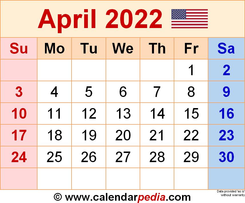 April 2022 Calendar Printable.April 2022 Calendar Templates For Word Excel And Pdf