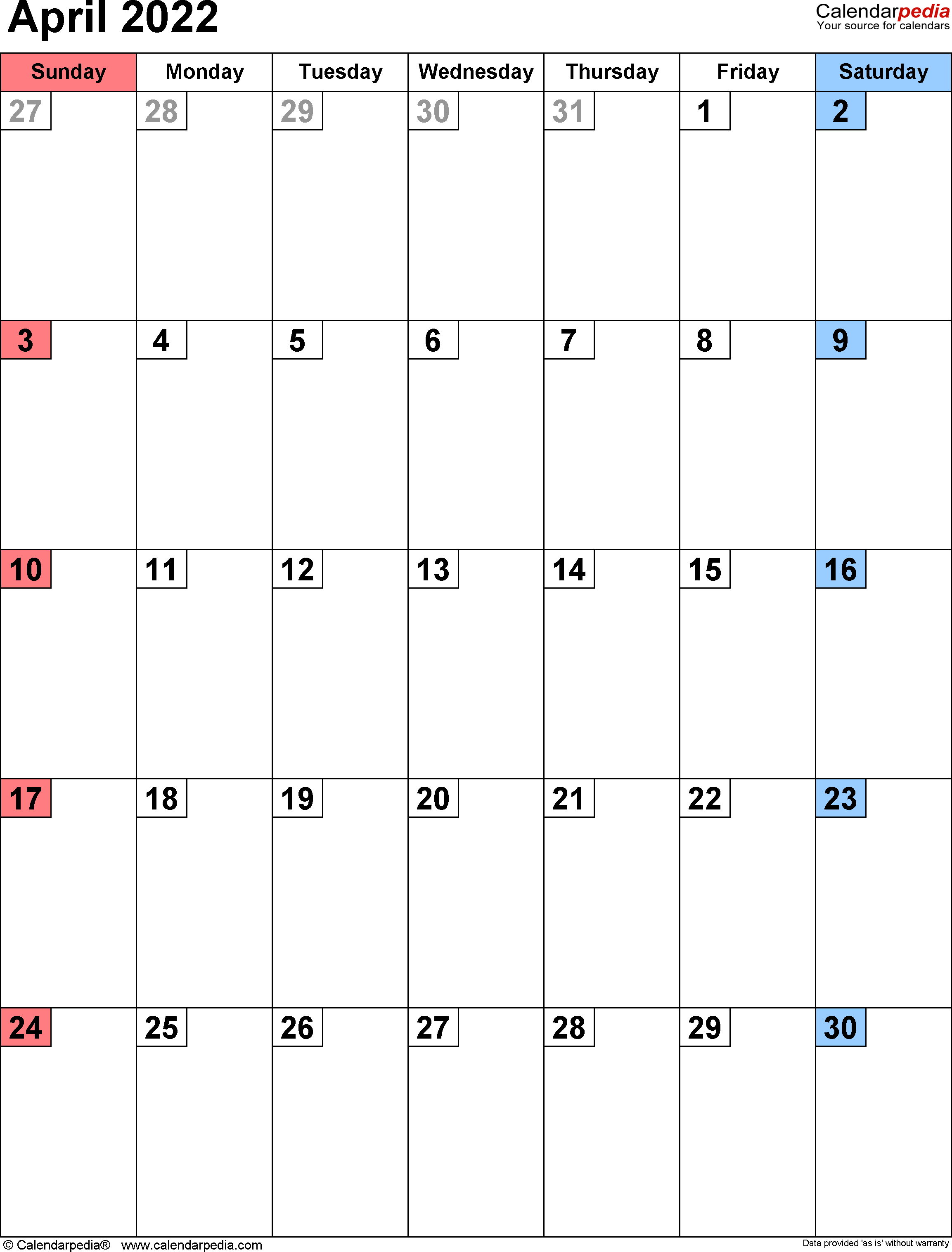 April 2022 Calendar Template.April 2022 Calendar Templates For Word Excel And Pdf