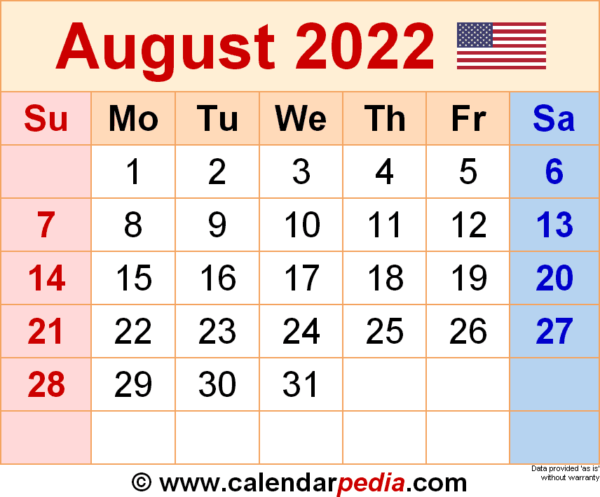 August Printable Calendar 2022.August 2022 Calendar Templates For Word Excel And Pdf