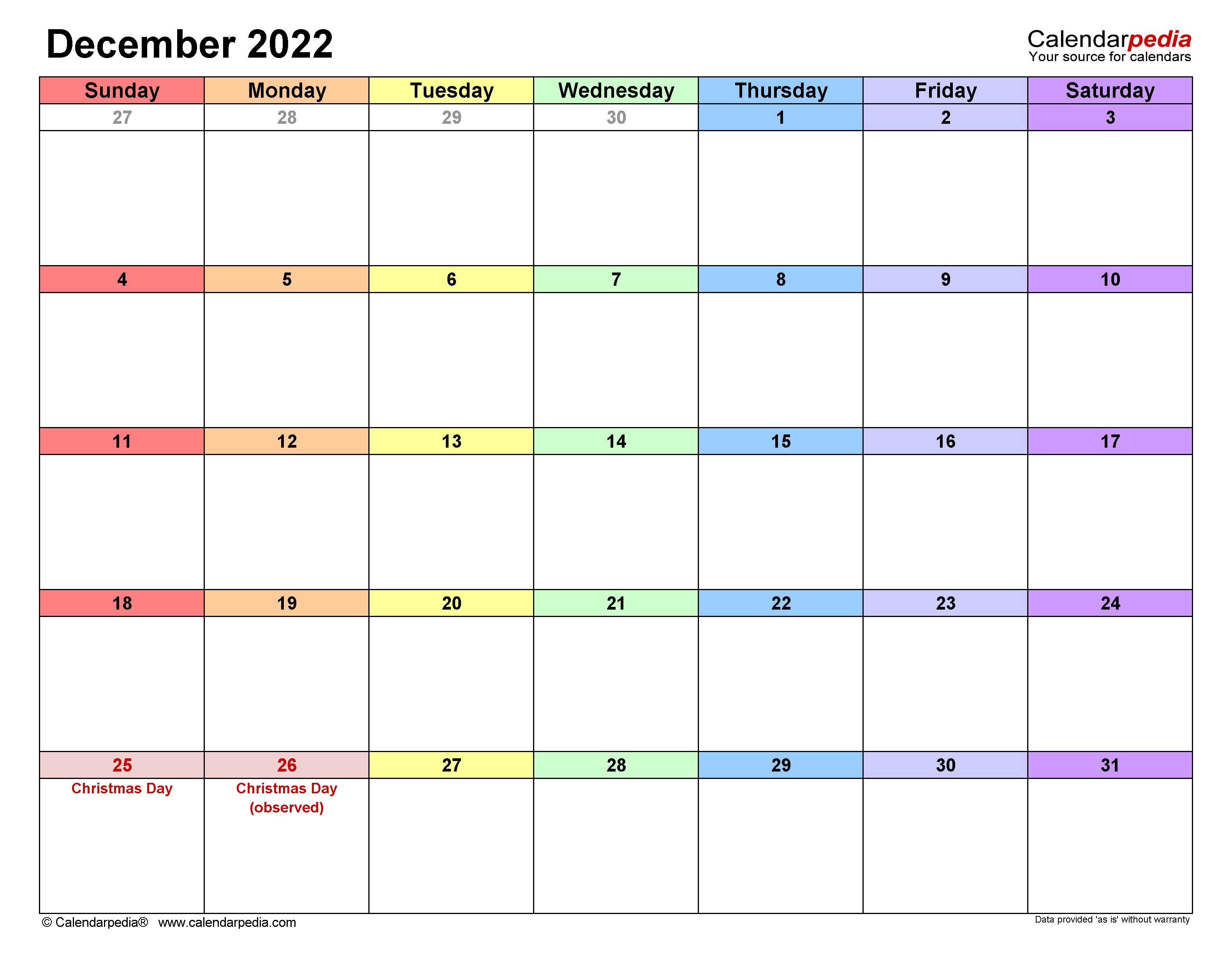 Editable Calendar December 2022.December 2022 Calendar Templates For Word Excel And Pdf
