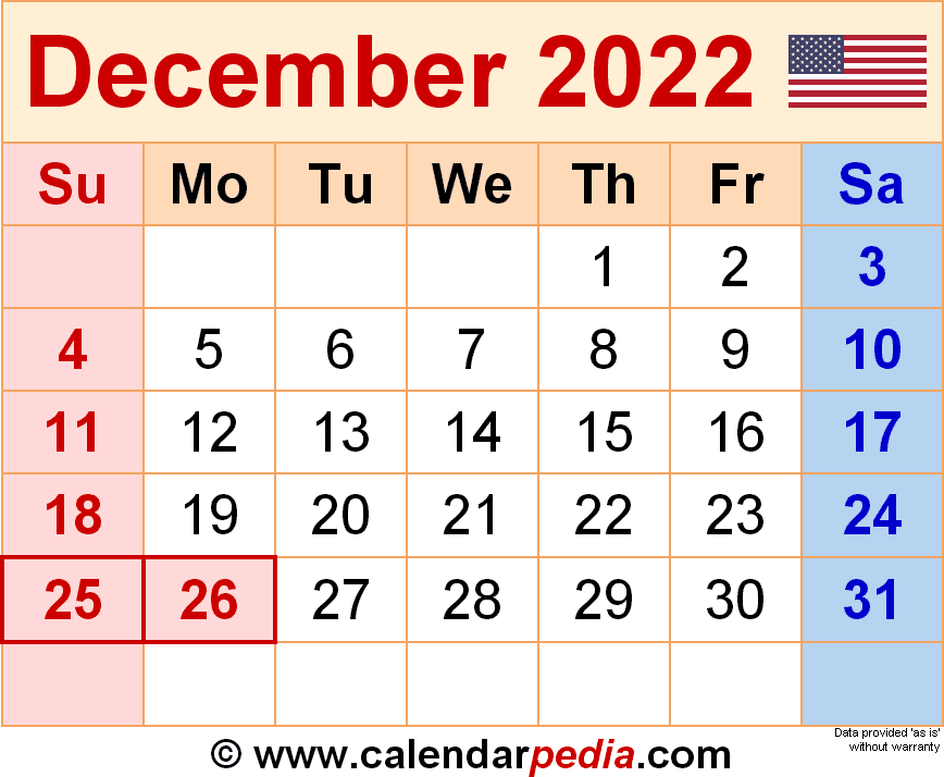 December 2022 - calendar templates for Word, Excel and PDF