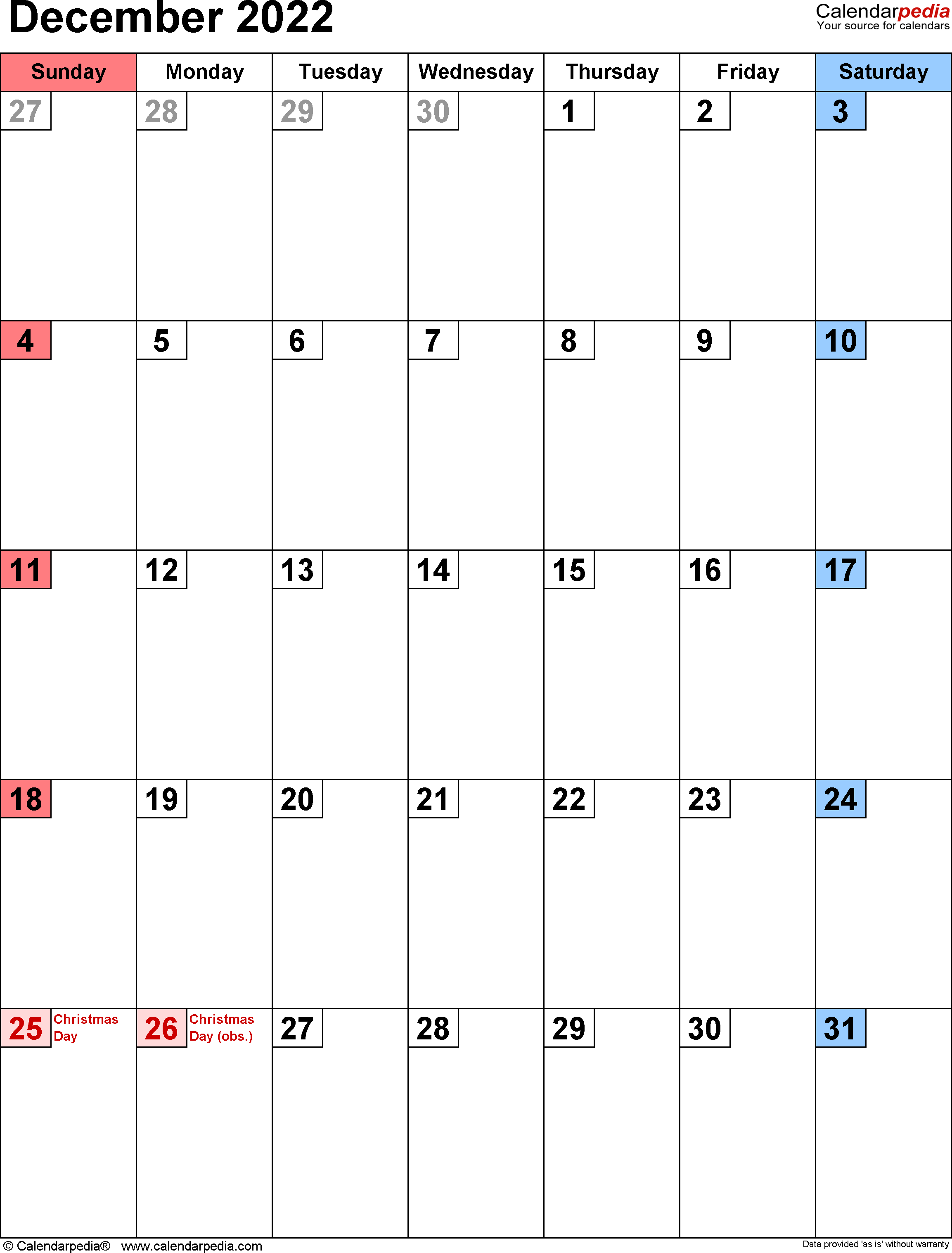 November December 2022 Calendar.December 2022 Calendar Templates For Word Excel And Pdf