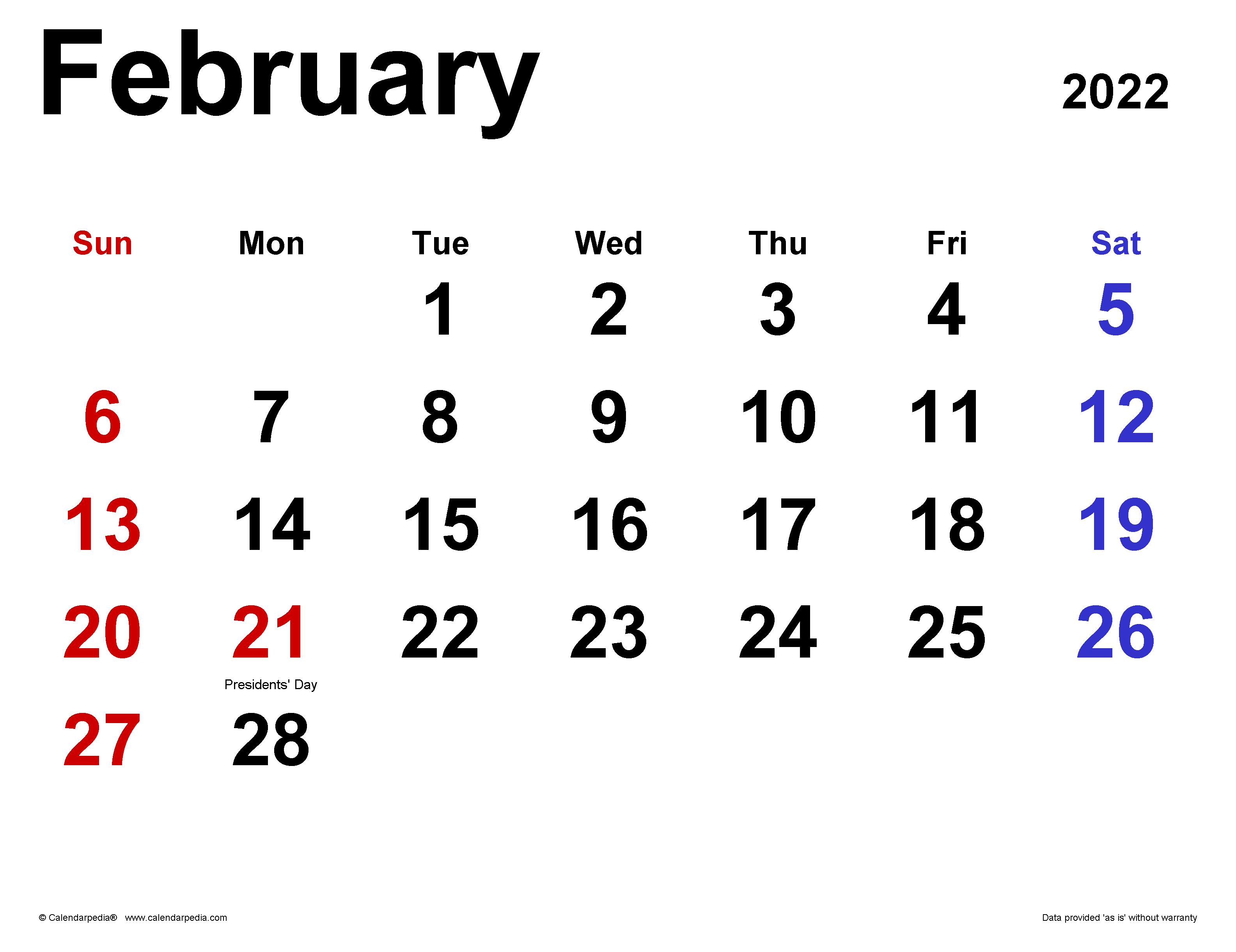 February 2022 Calendar Wallpaper.February 2022 Calendar Templates For Word Excel And Pdf
