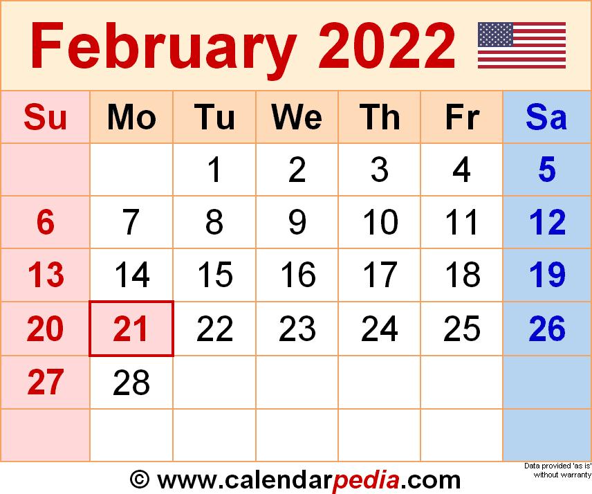 Calendar Feb 2022 Printable.February 2022 Calendar Templates For Word Excel And Pdf