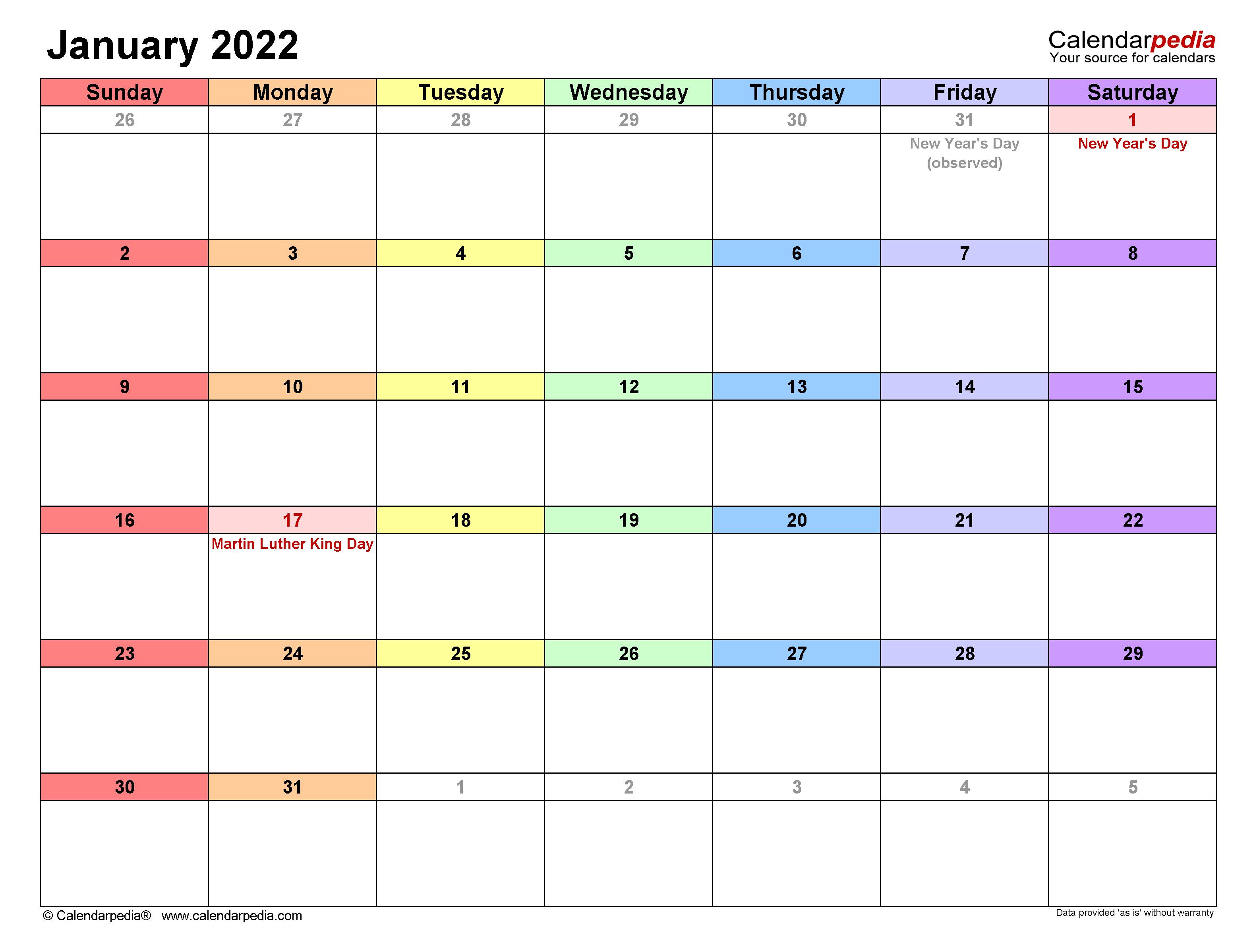 2022 January Calendar Printable.January 2022 Calendar Templates For Word Excel And Pdf
