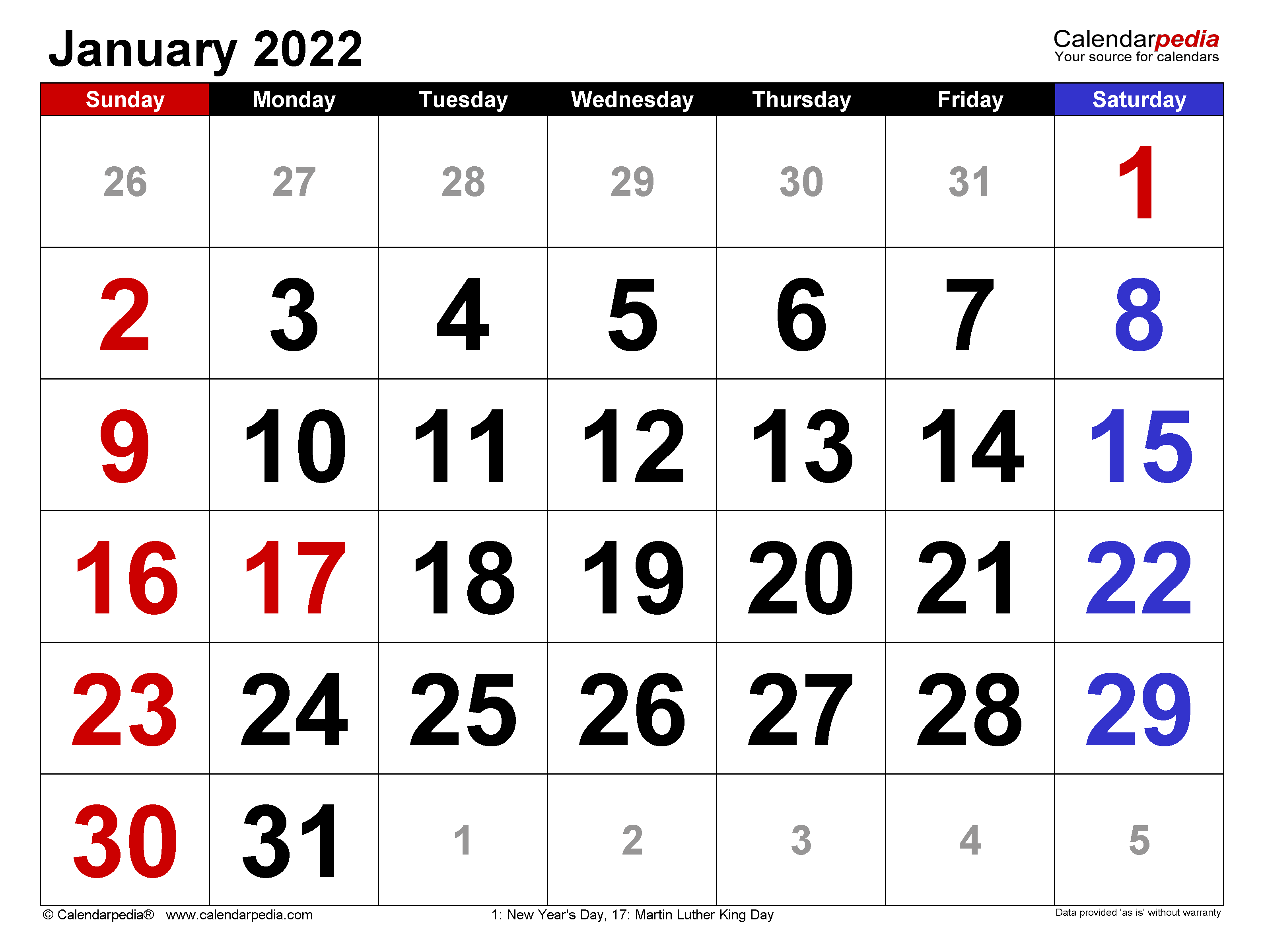 Calendar Of January 2022.January 2022 Calendar Templates For Word Excel And Pdf