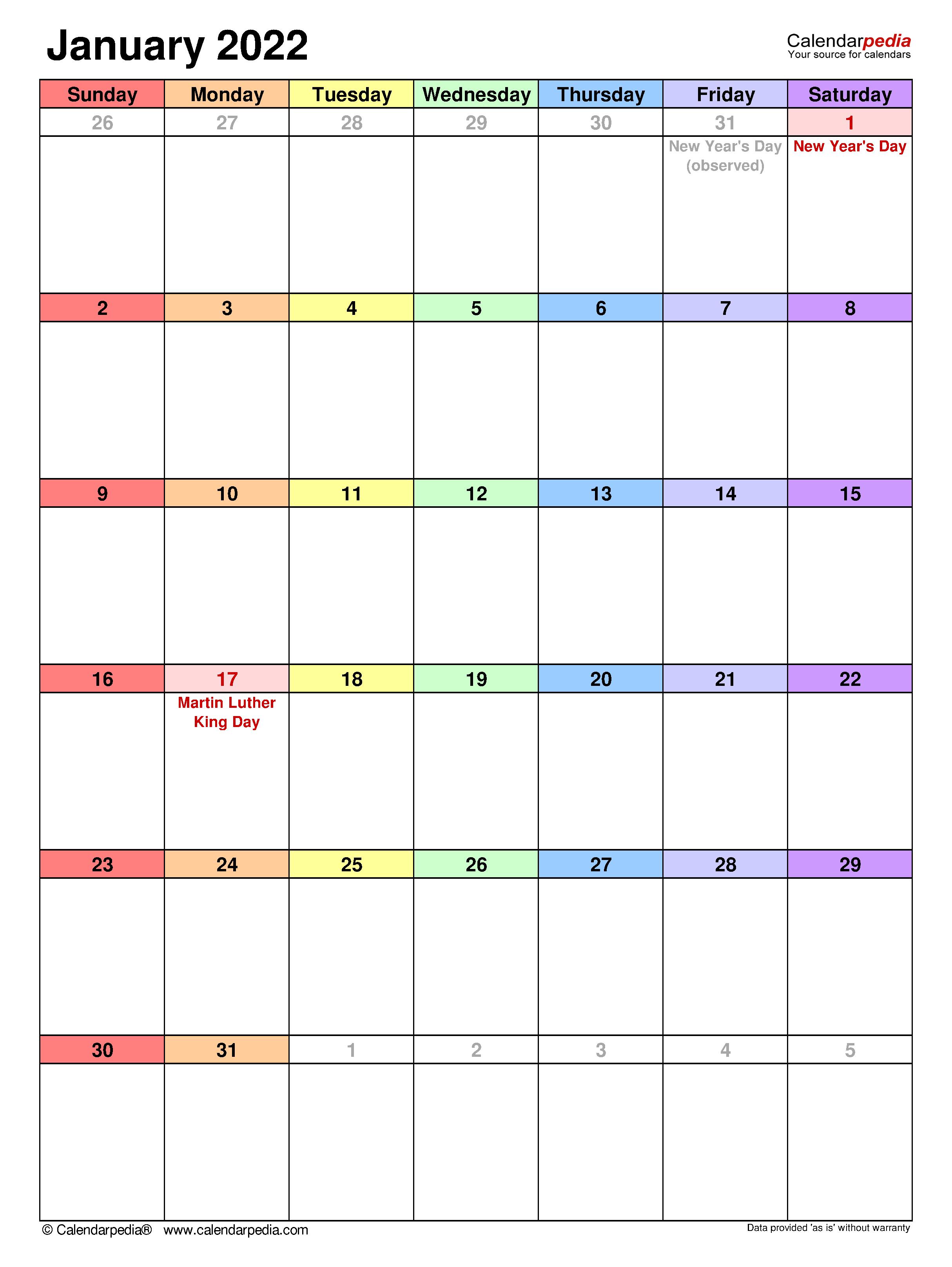 Printable January 2022 Calendar Pdf.January 2022 Calendar Templates For Word Excel And Pdf