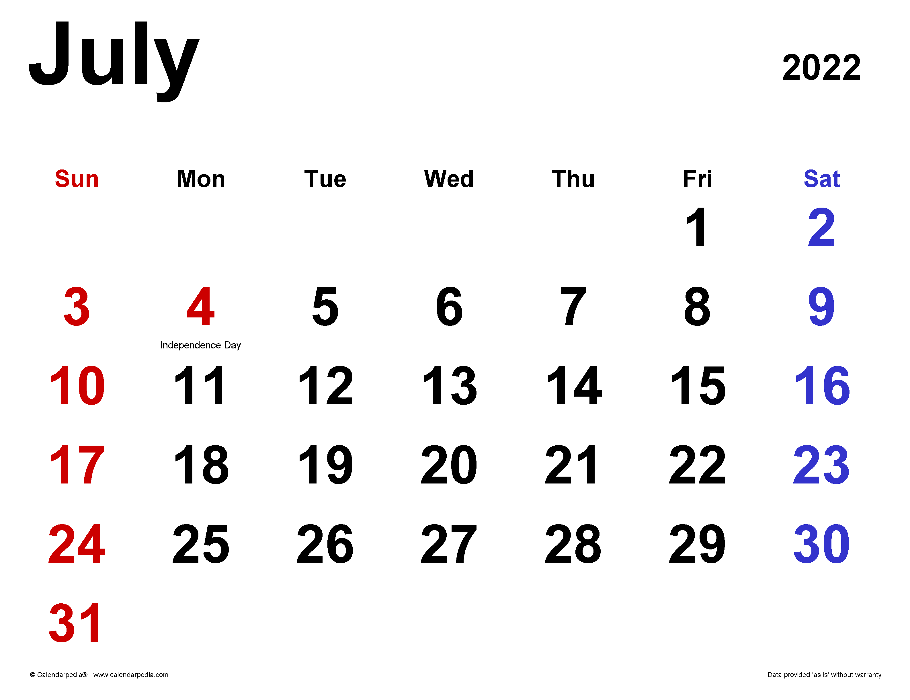 July 4 2022 Calendar.July 2022 Calendar Templates For Word Excel And Pdf