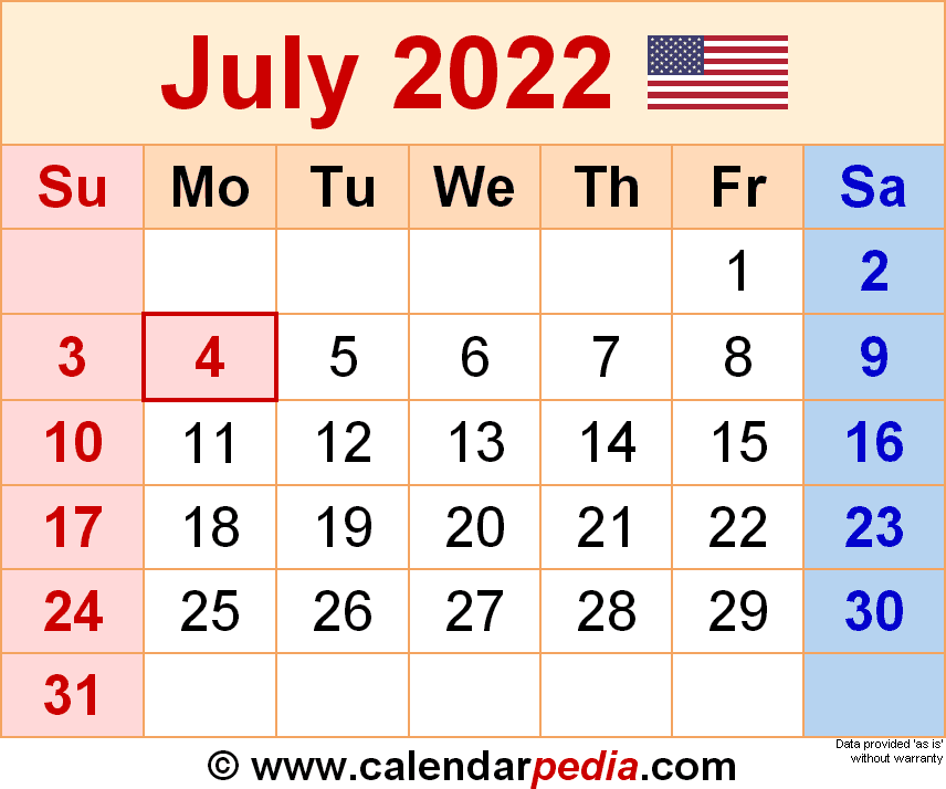 July 2022 Calendar Template.July 2022 Calendar Templates For Word Excel And Pdf