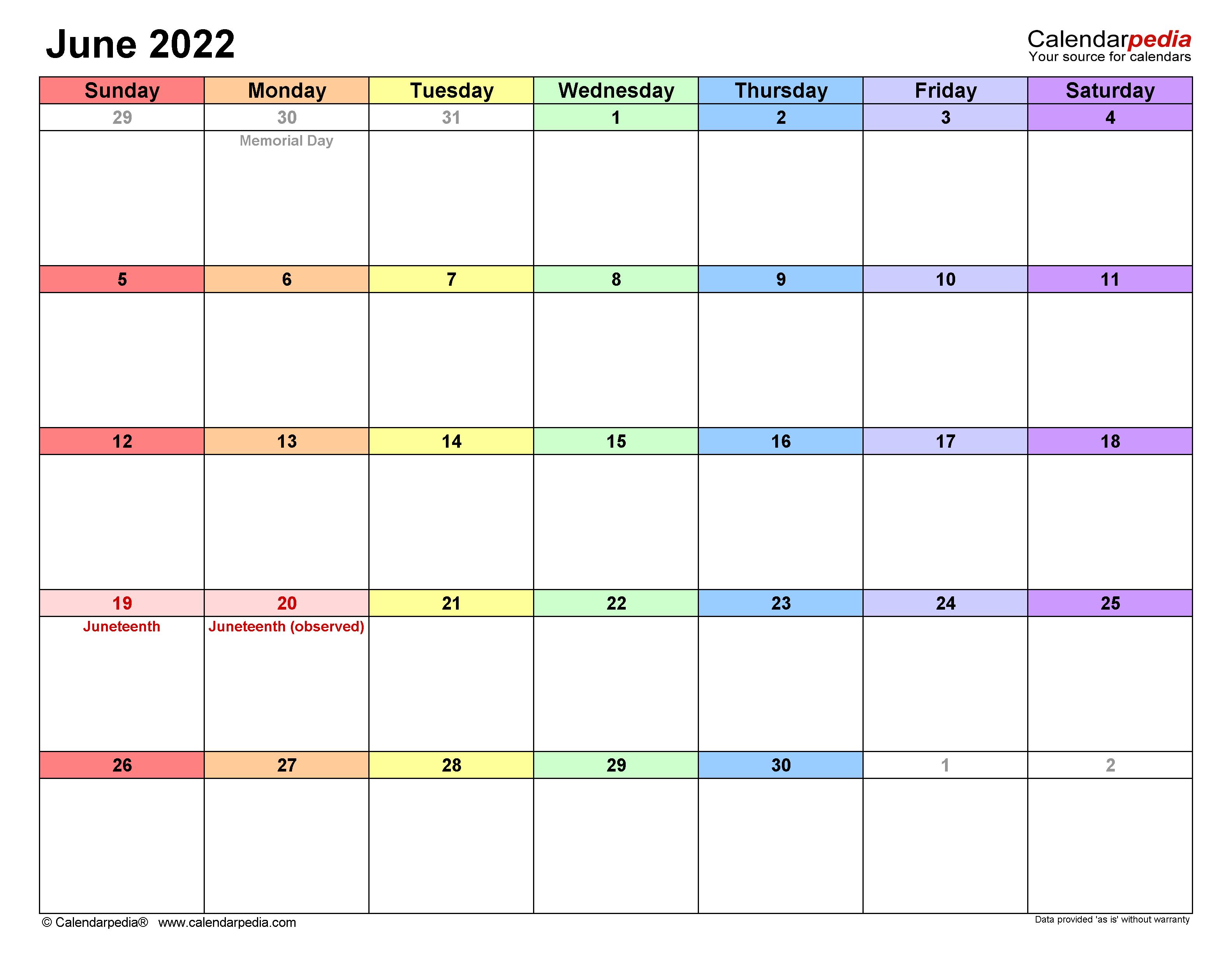 Marketing Calendar 2022.June 2022 Calendar Templates For Word Excel And Pdf