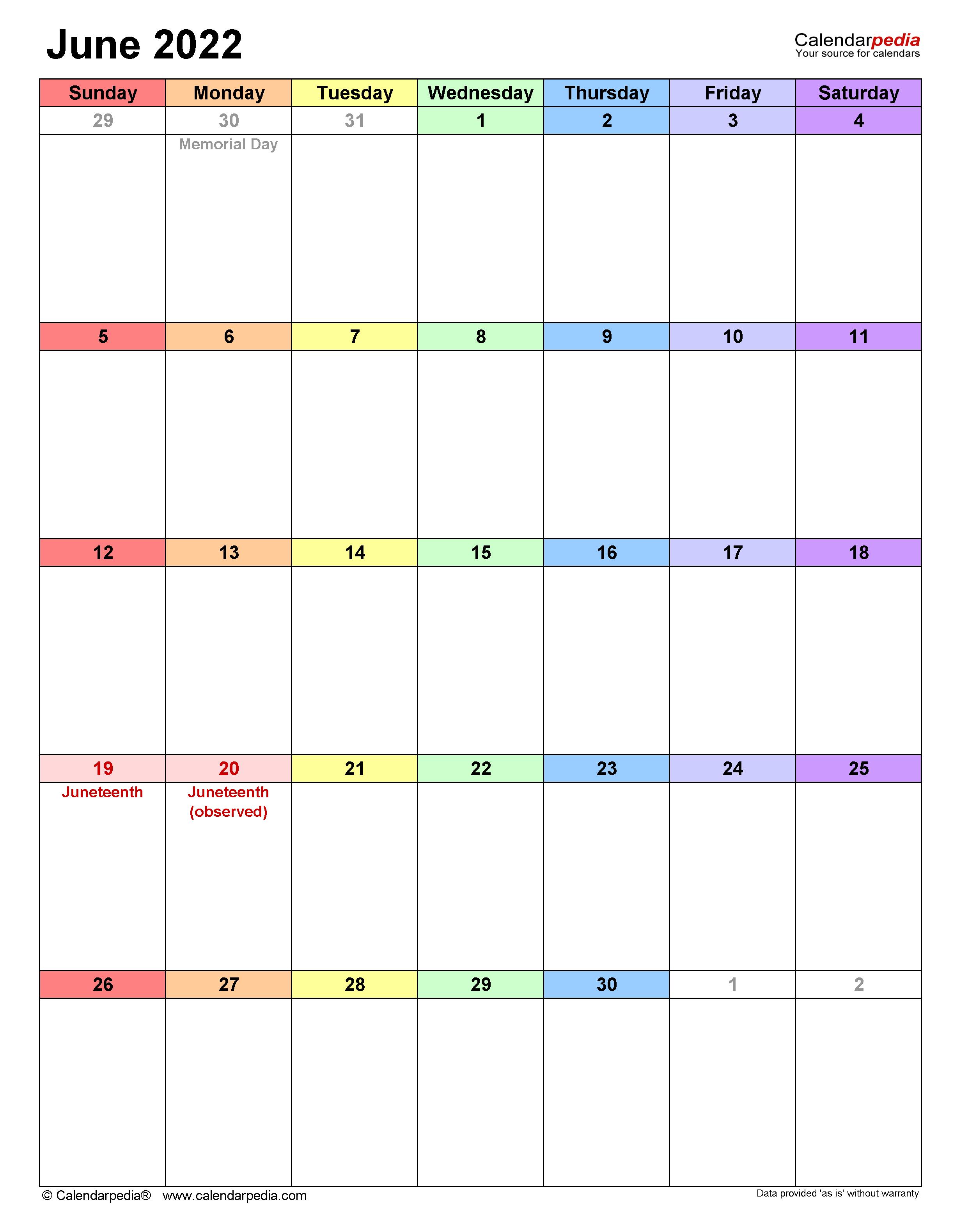 Printable Calendar For June 2022.June 2022 Calendar Templates For Word Excel And Pdf