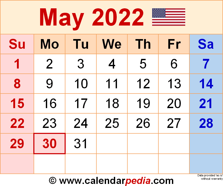Blank Calendar May 2022.May 2022 Calendar Templates For Word Excel And Pdf