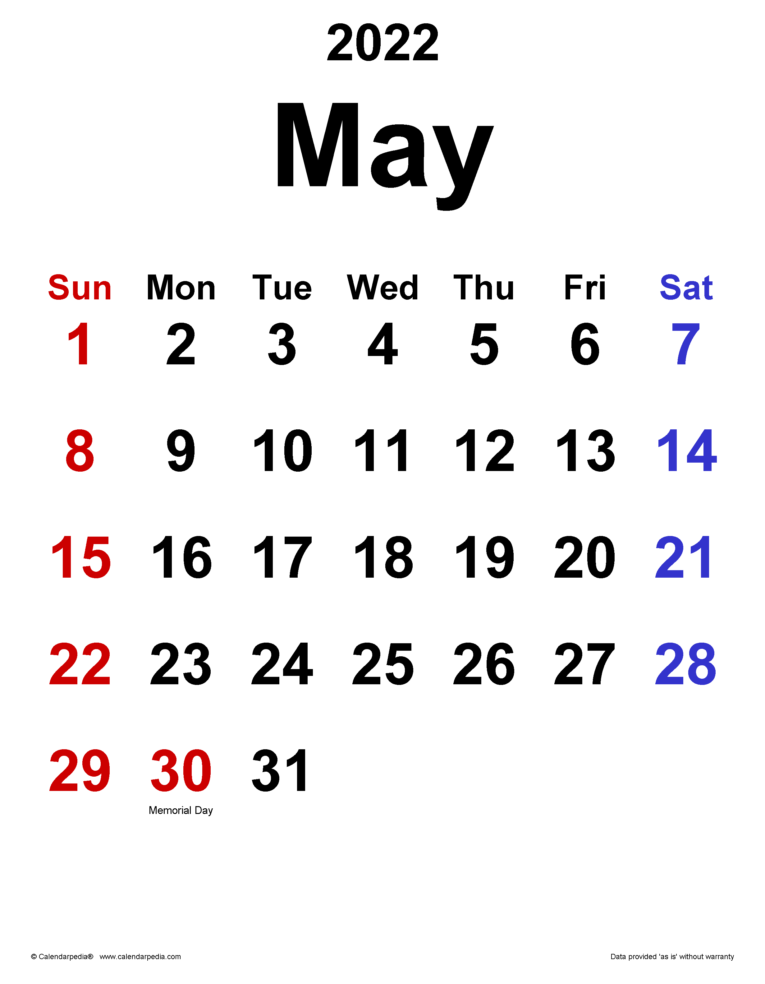 Calendar April May 2022.May 2022 Calendar Templates For Word Excel And Pdf