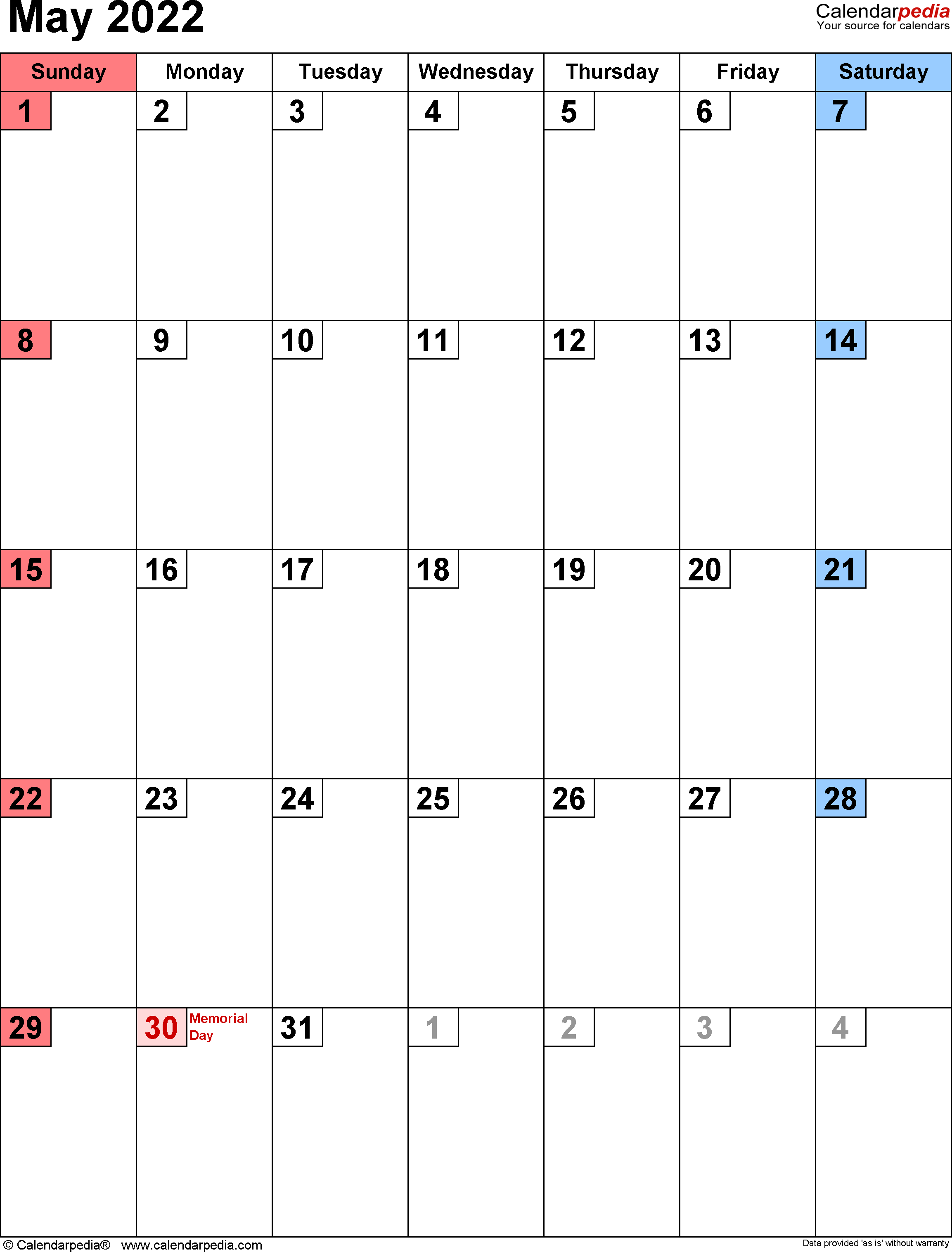 Blank Calendar For May 2022.May 2022 Calendar Templates For Word Excel And Pdf