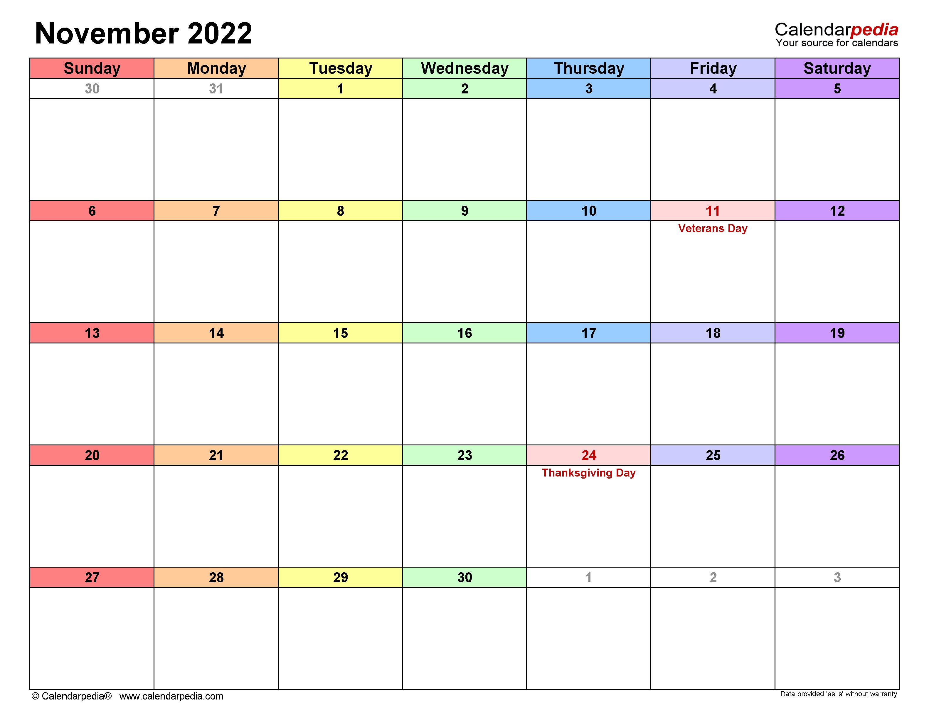 Nov 2022 Calendar With Holidays.November 2022 Calendar Templates For Word Excel And Pdf