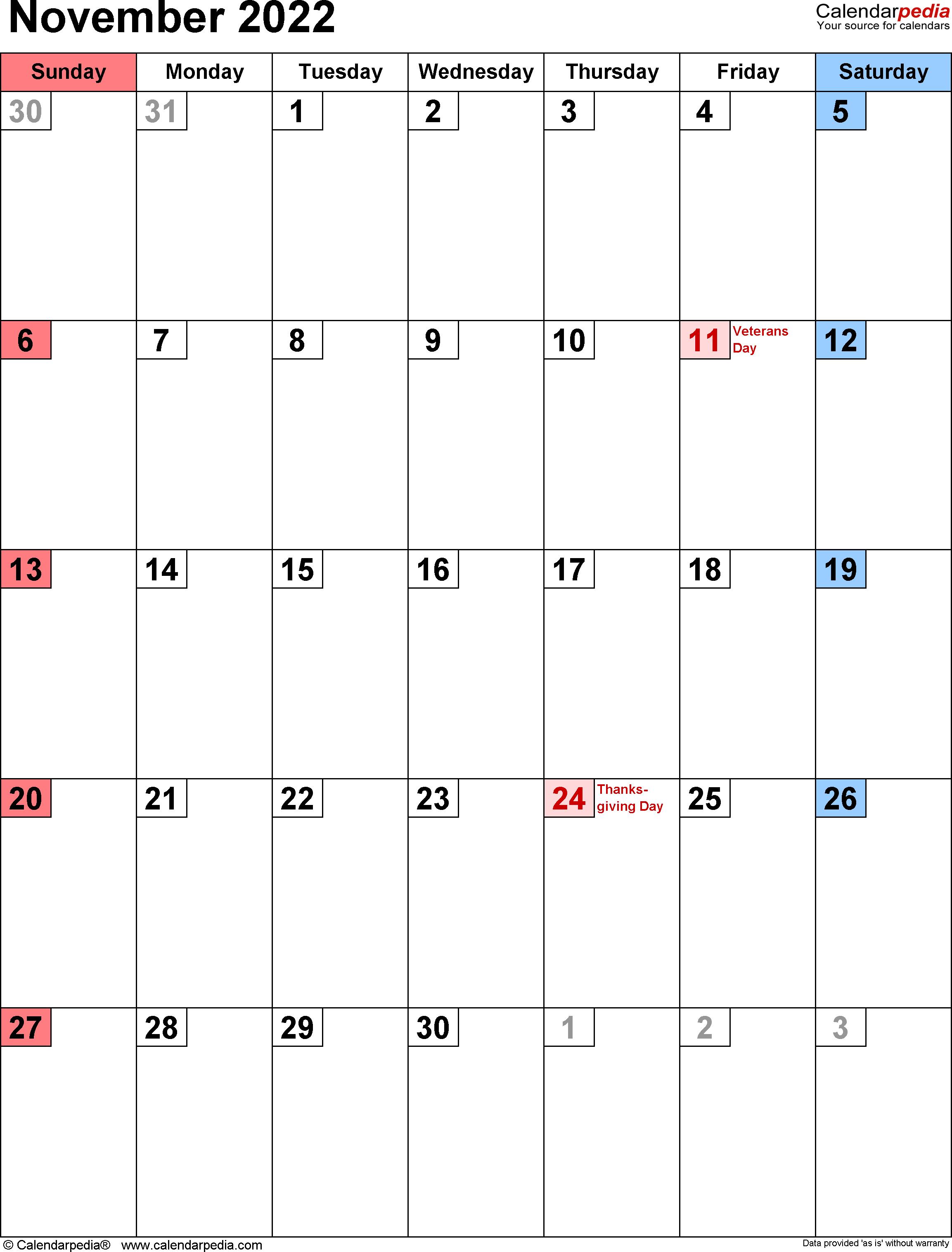 Oct Nov 2022 Calendar.November 2022 Calendar Templates For Word Excel And Pdf