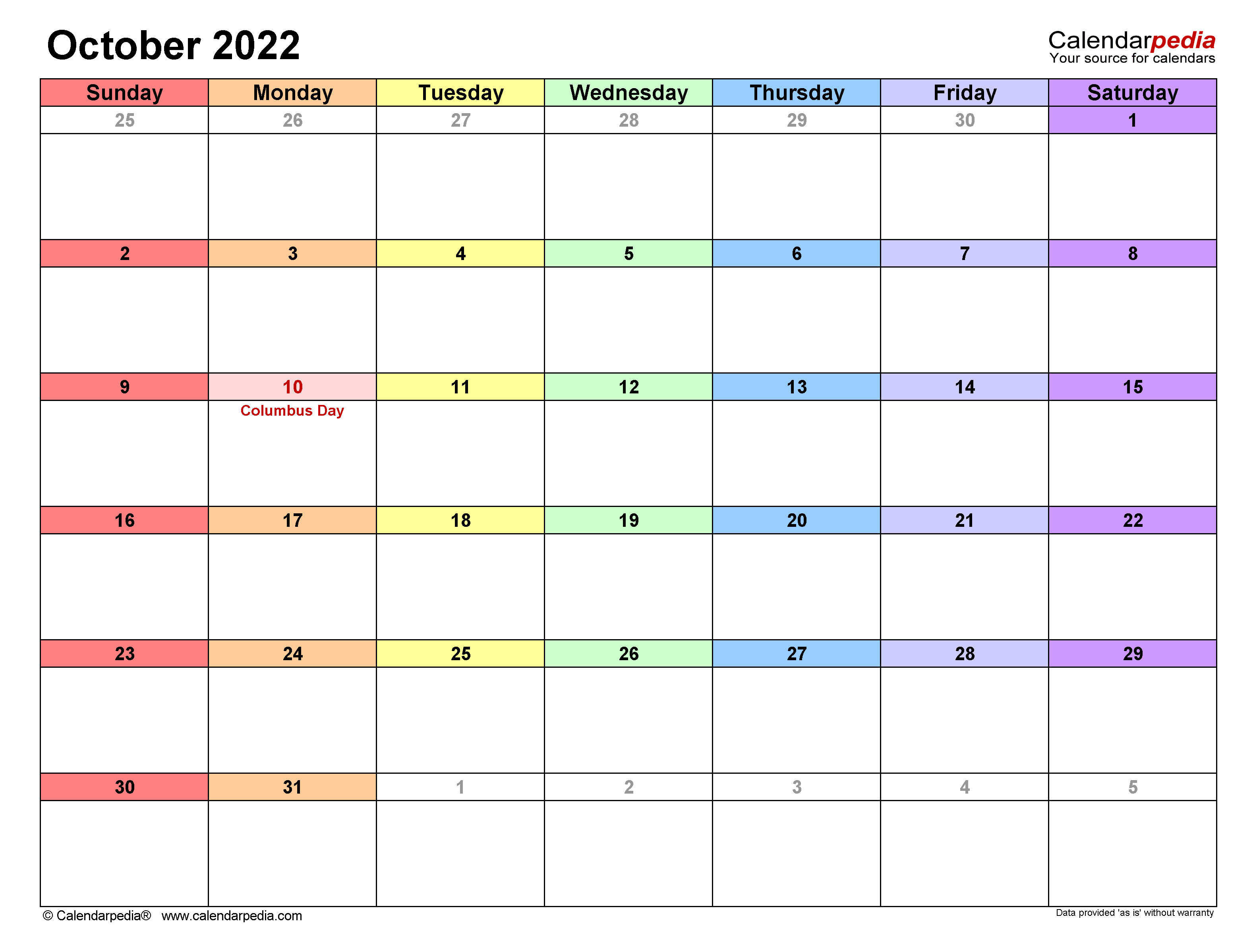 Oct 2022 Calendar With Holidays.October 2022 Calendar Templates For Word Excel And Pdf
