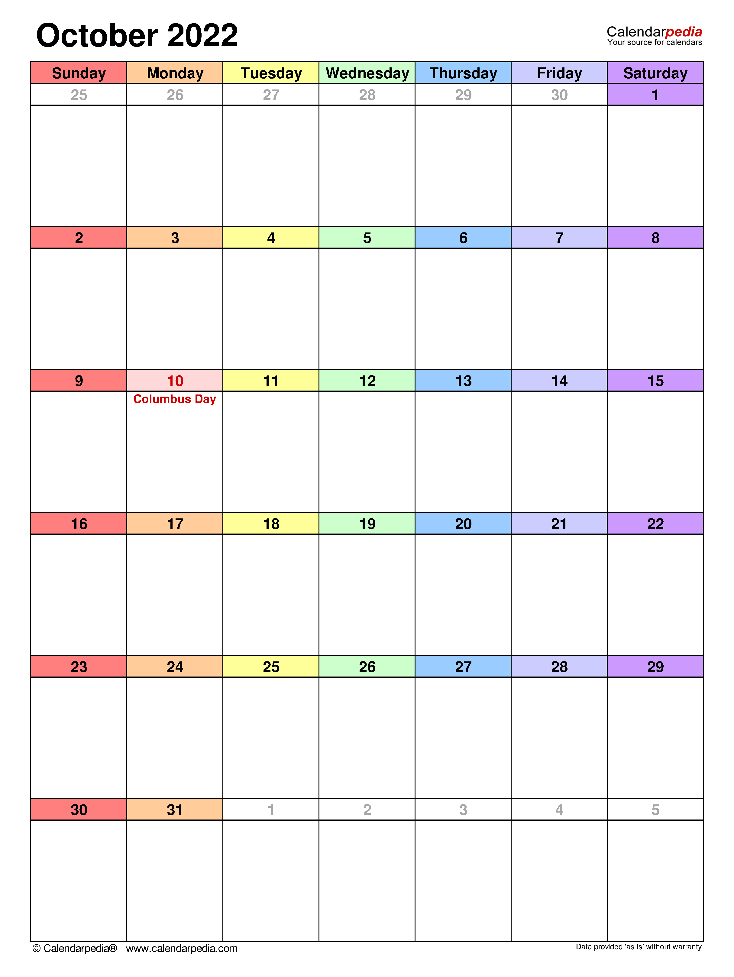 October 2022 Calendar Word.October 2022 Calendar Templates For Word Excel And Pdf