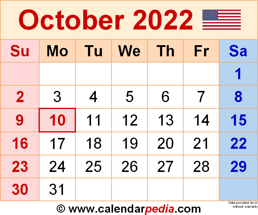 Free Printable Calendar October 2022.October 2022 Calendar Templates For Word Excel And Pdf