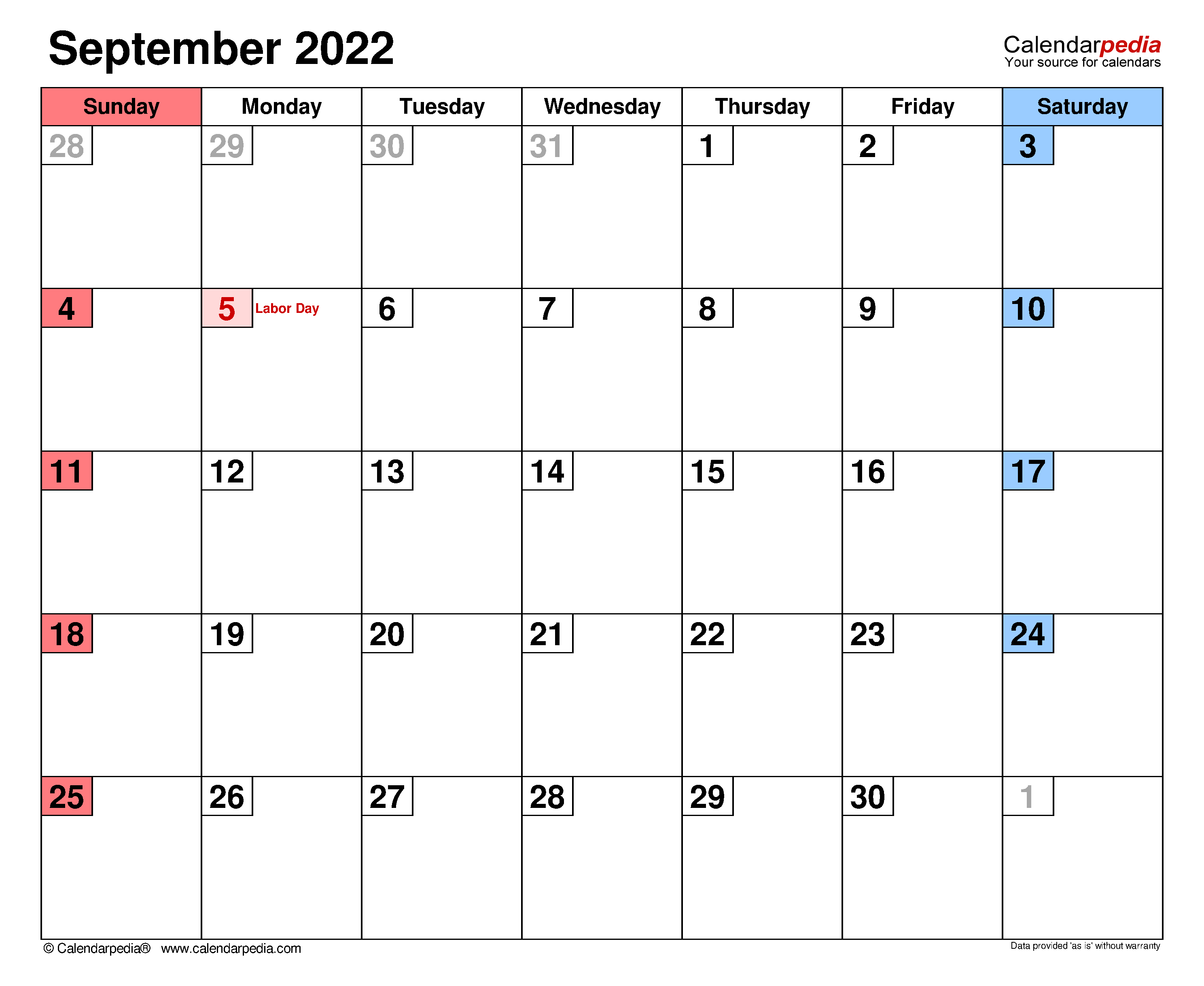 Blank September 2022 Calendar.September 2022 Calendar Templates For Word Excel And Pdf