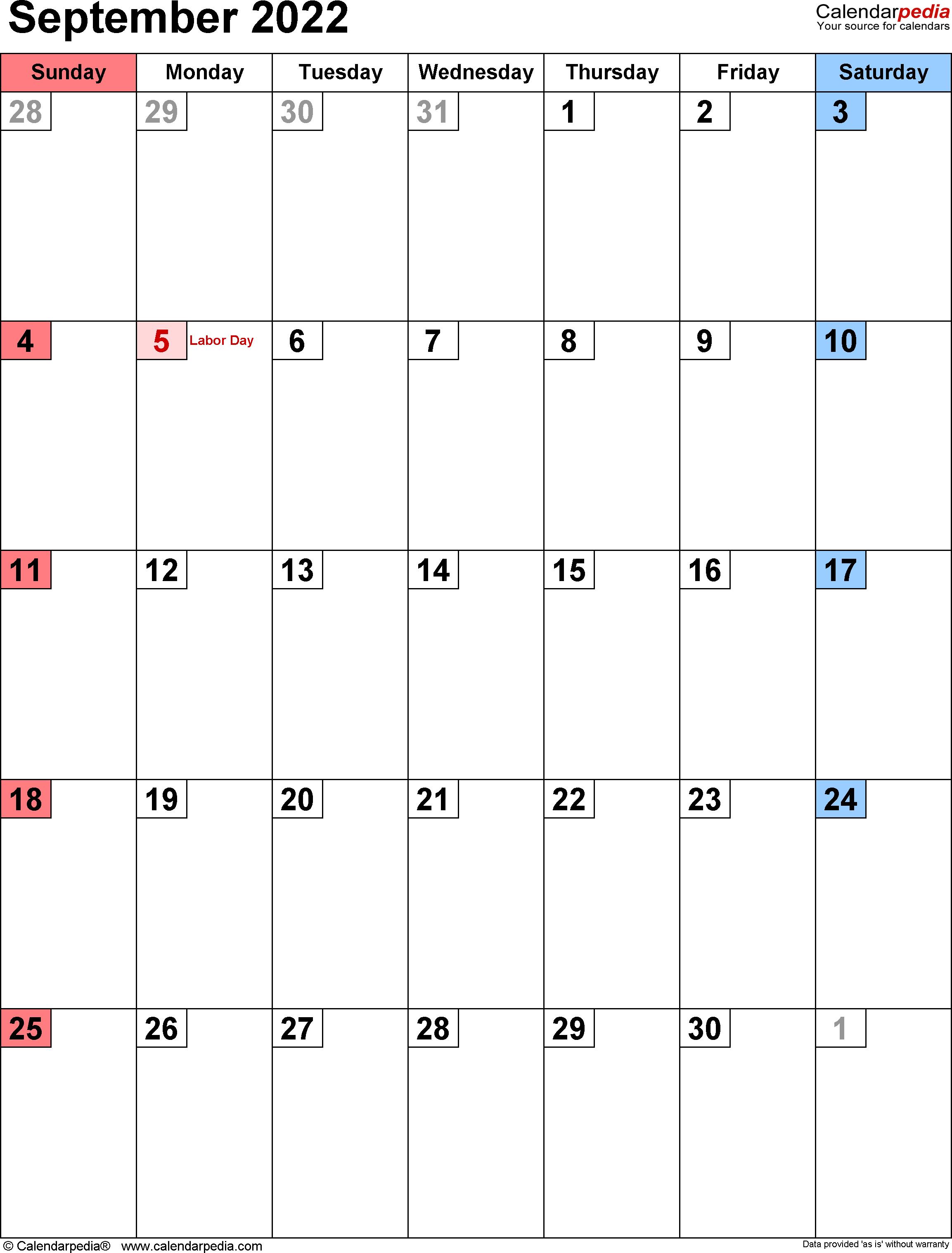 Printable Monthly Calendar September 2022.September 2022 Calendar Templates For Word Excel And Pdf