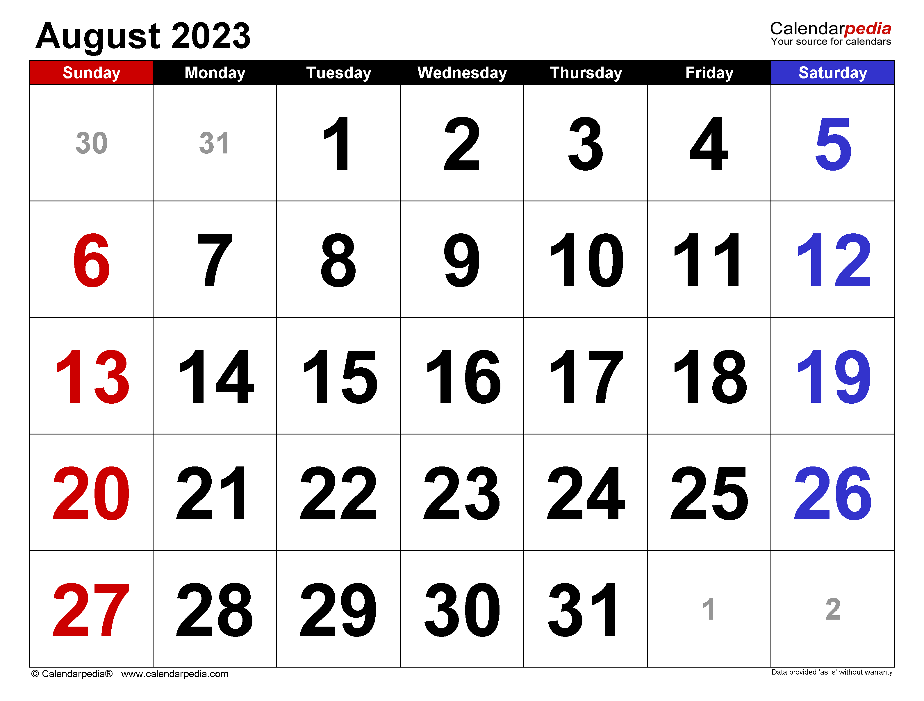 August 2023 Calendar Templates For Word Excel And Pdf