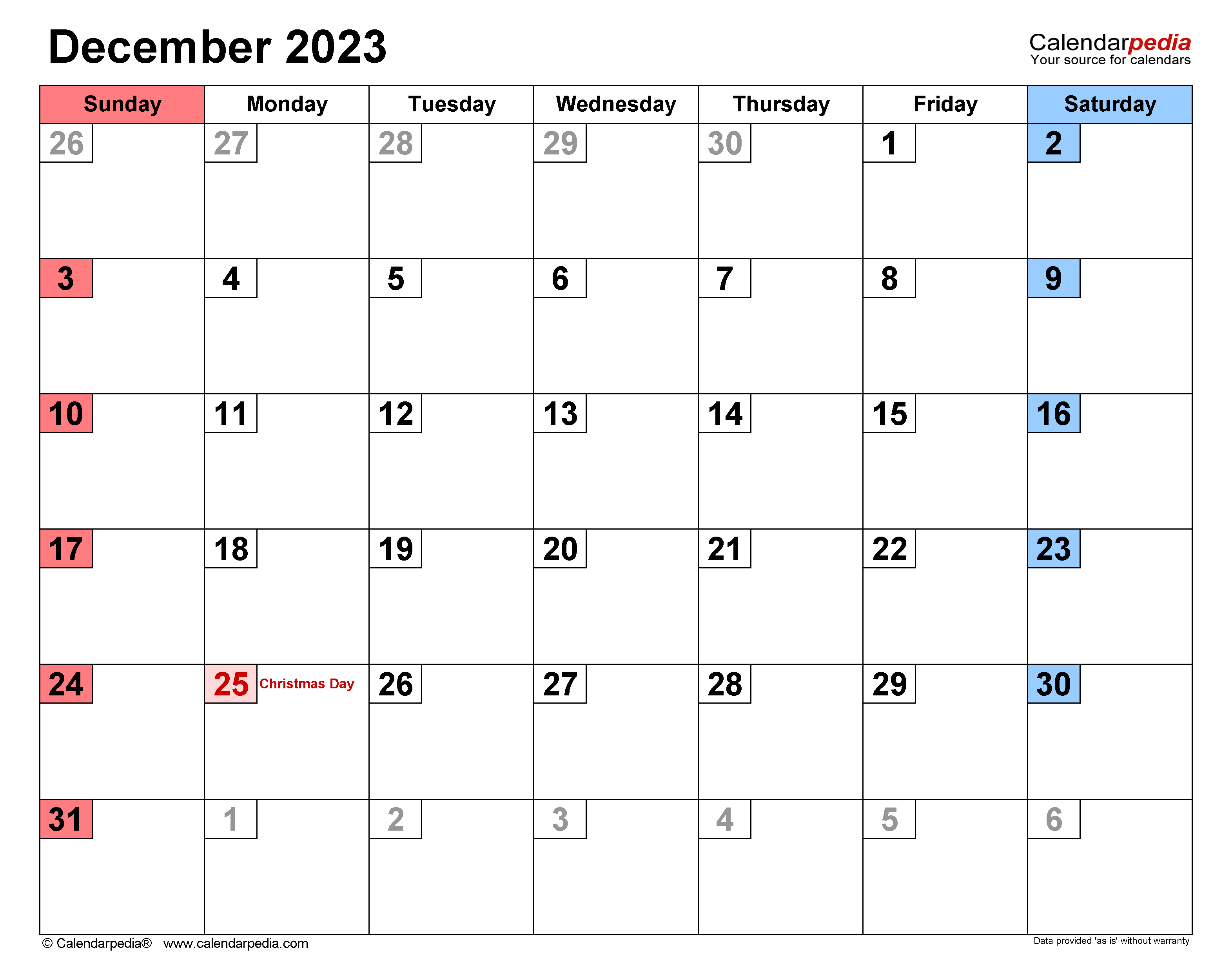 December 2023 And January 2022 Calendar.December 2023 Calendar Templates For Word Excel And Pdf