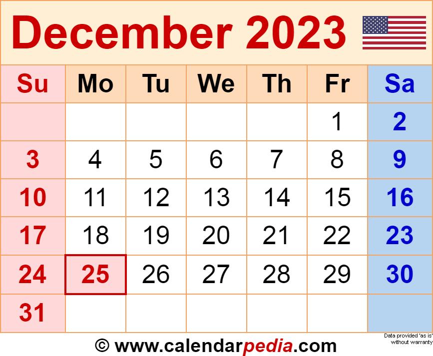Calendar December 2023 January 2022.December 2023 Calendar Templates For Word Excel And Pdf