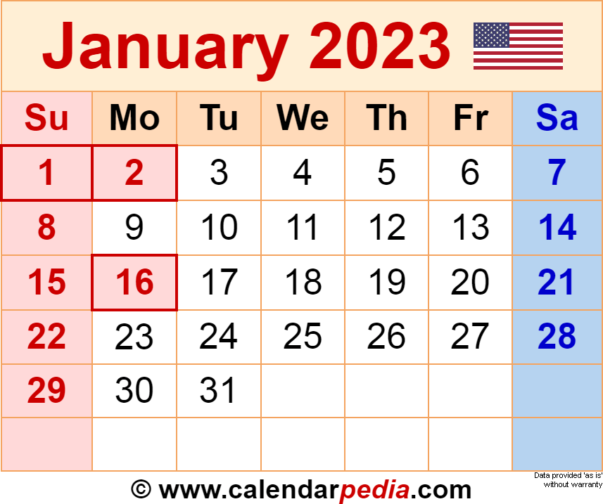 December 2022 And January 2023 Calendar.January 2023 Calendar Templates For Word Excel And Pdf