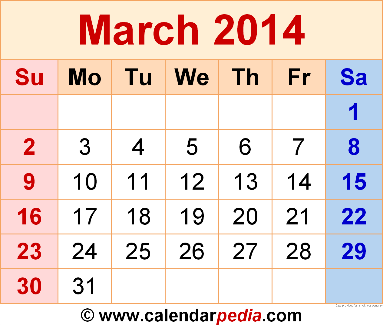 March 2014 Calendar Templates For Word Excel And Pdf