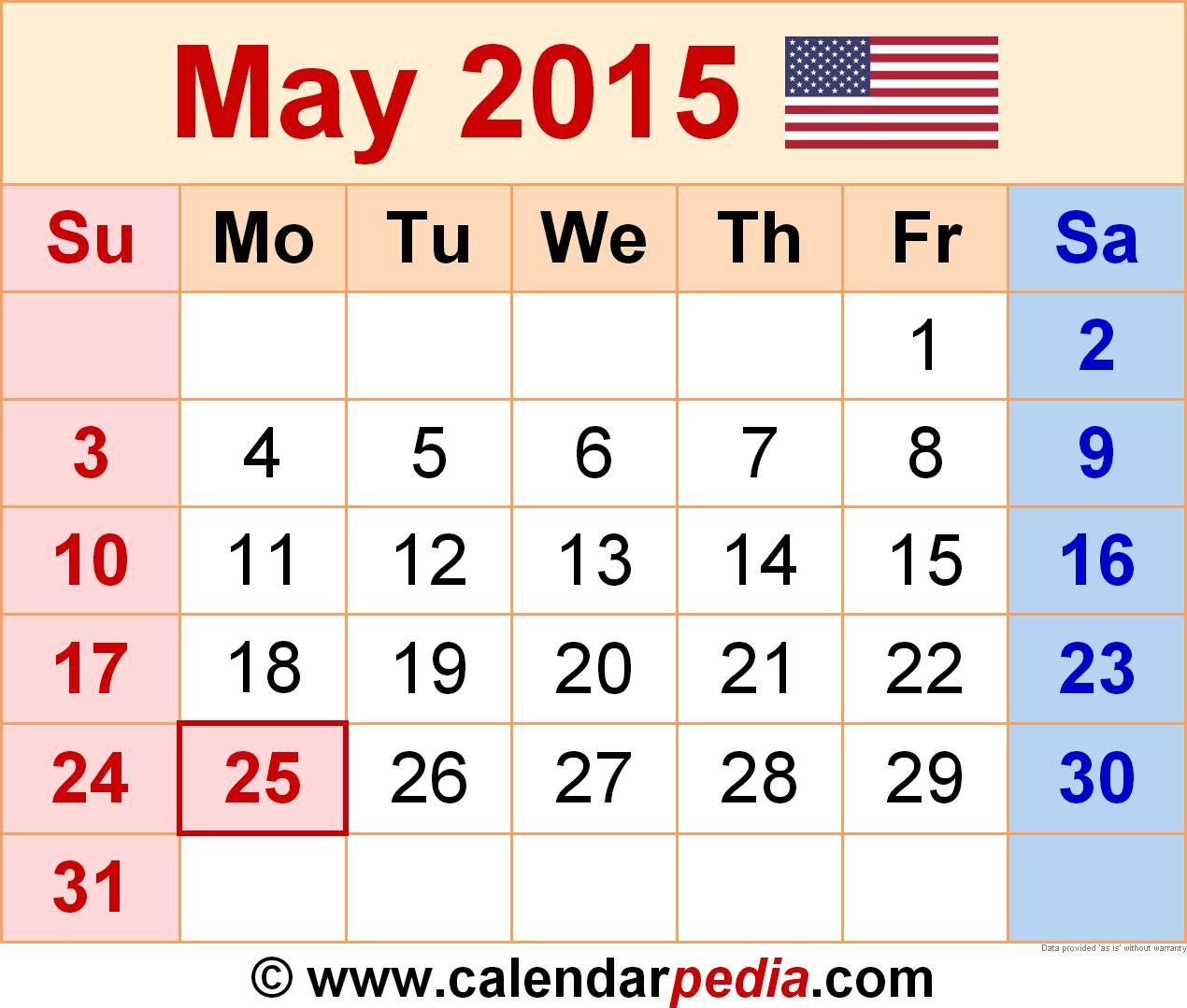Calendar 2015 Template Monthly from www.calendarpedia.com