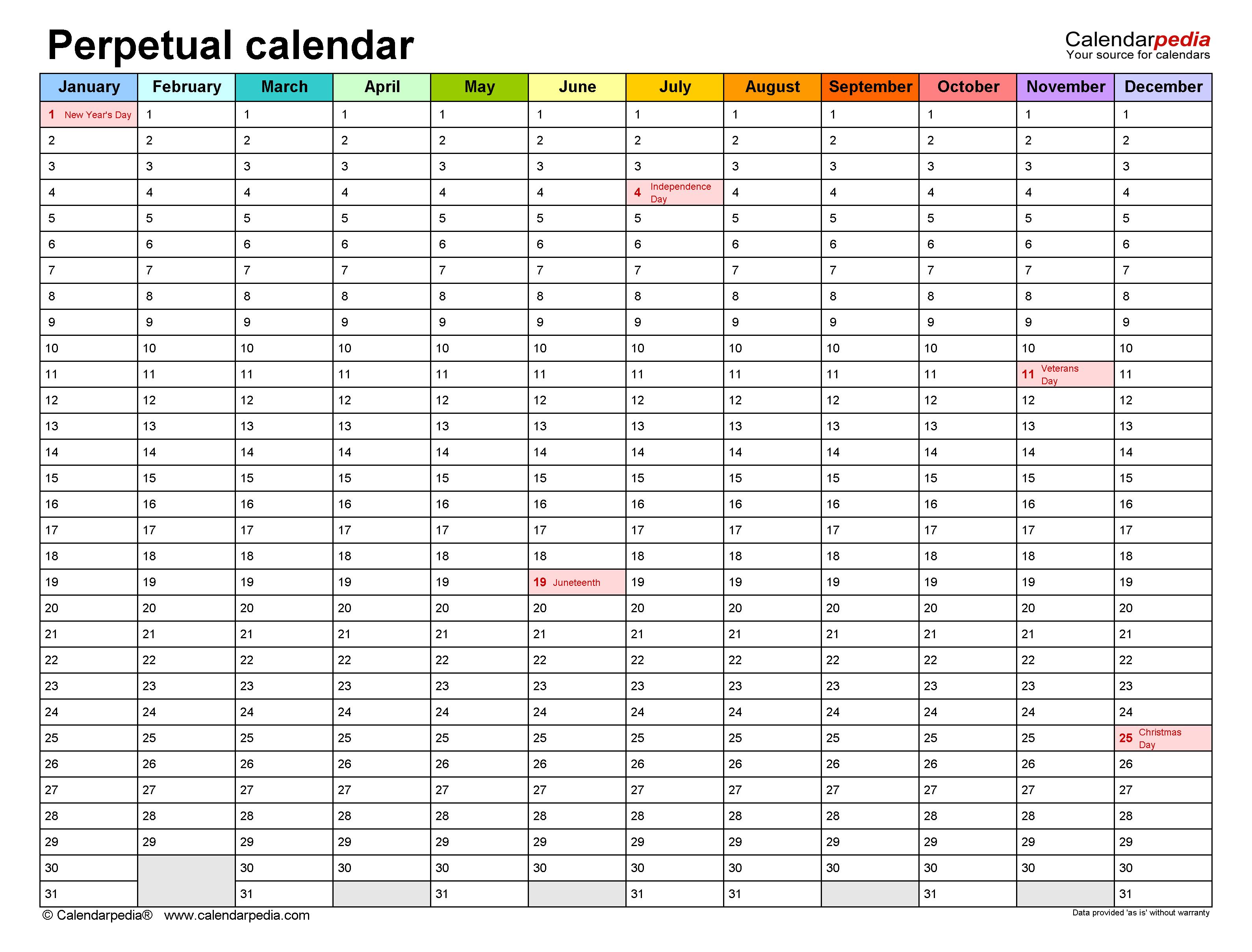 Blank Perpetual Calendar Birthday Calendar
