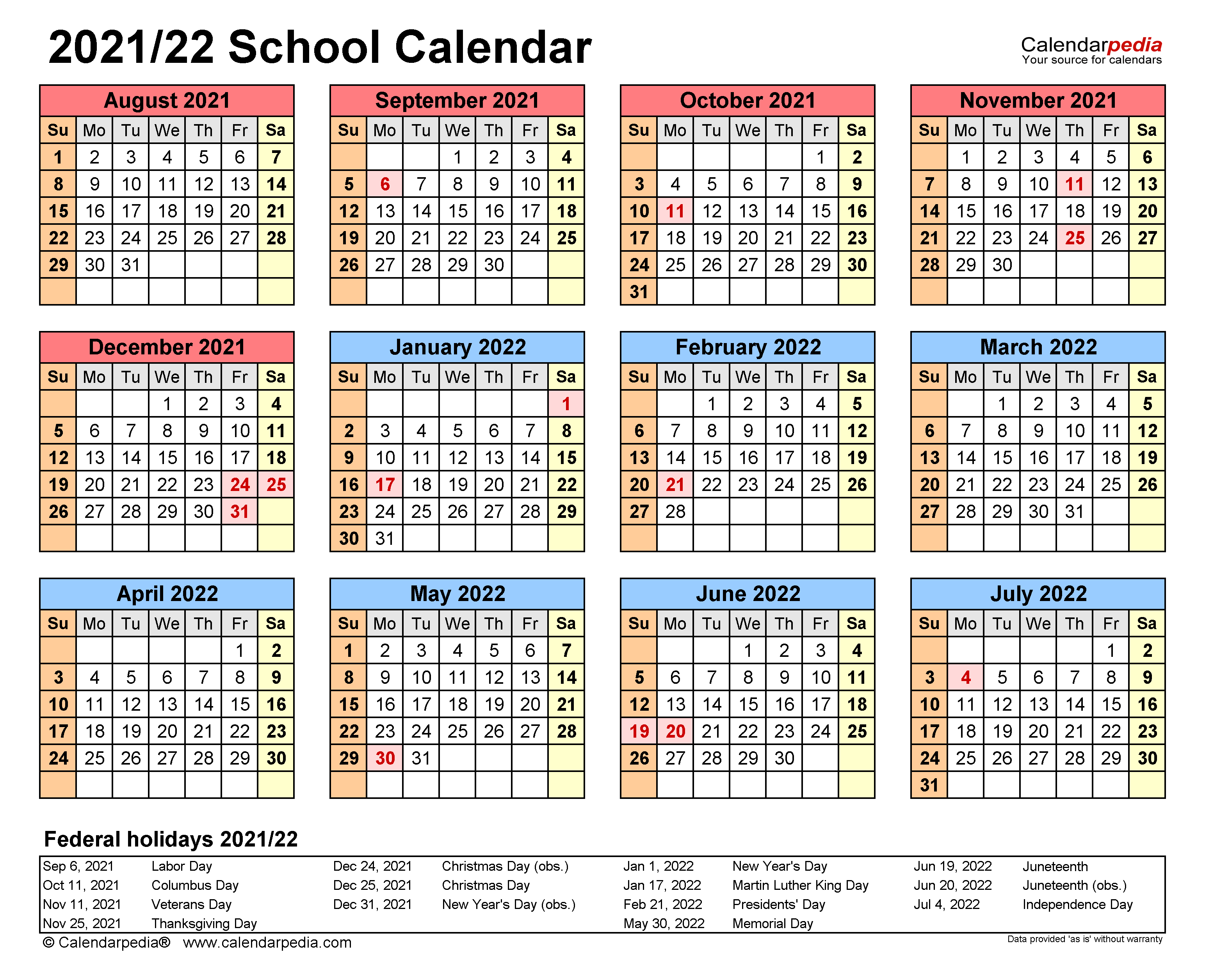 Calendar School Year 2021-22 School Calendars 2021/2022   free printable PDF templates