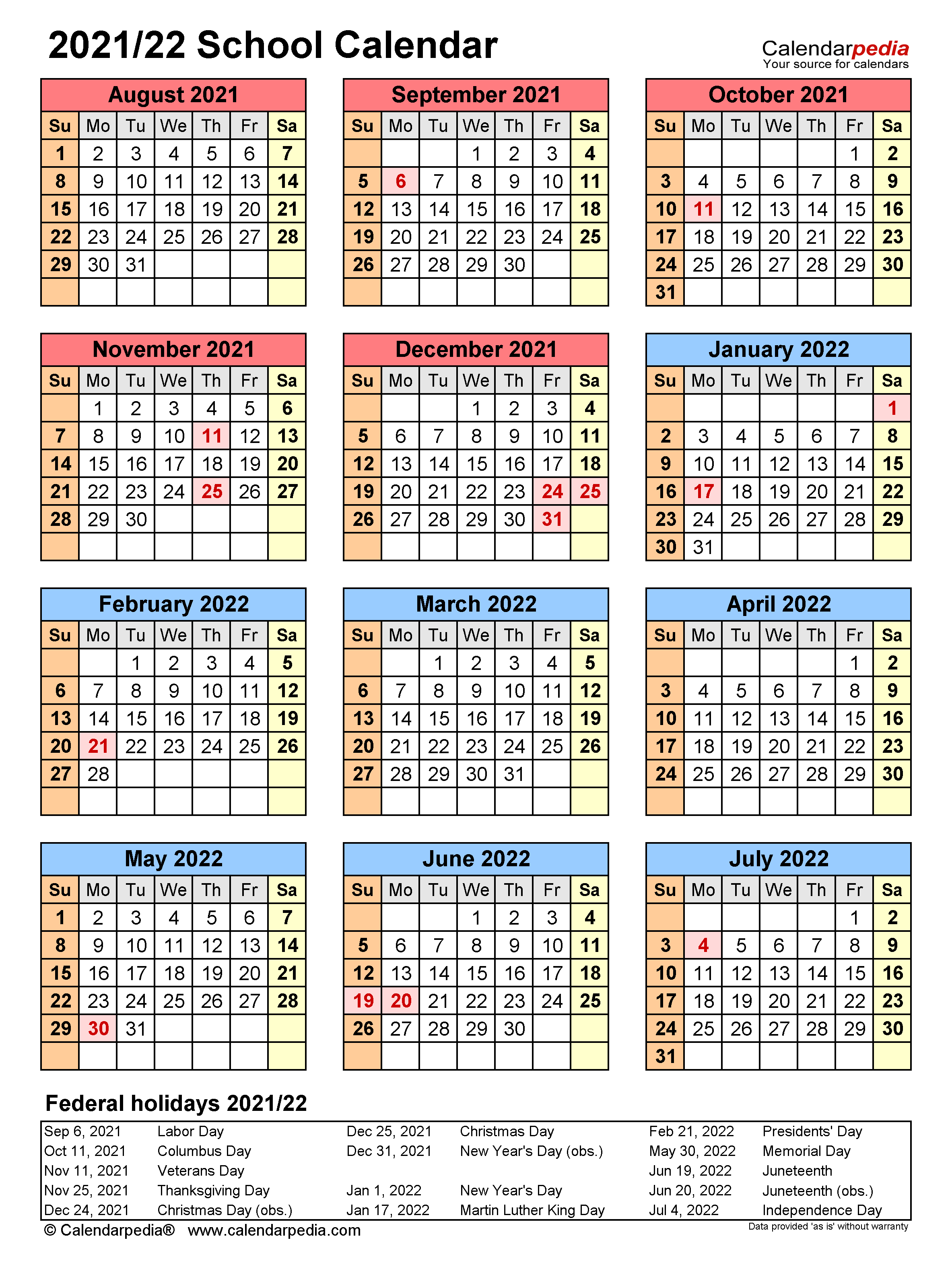 School Calendars 2021/2022   free printable PDF templates