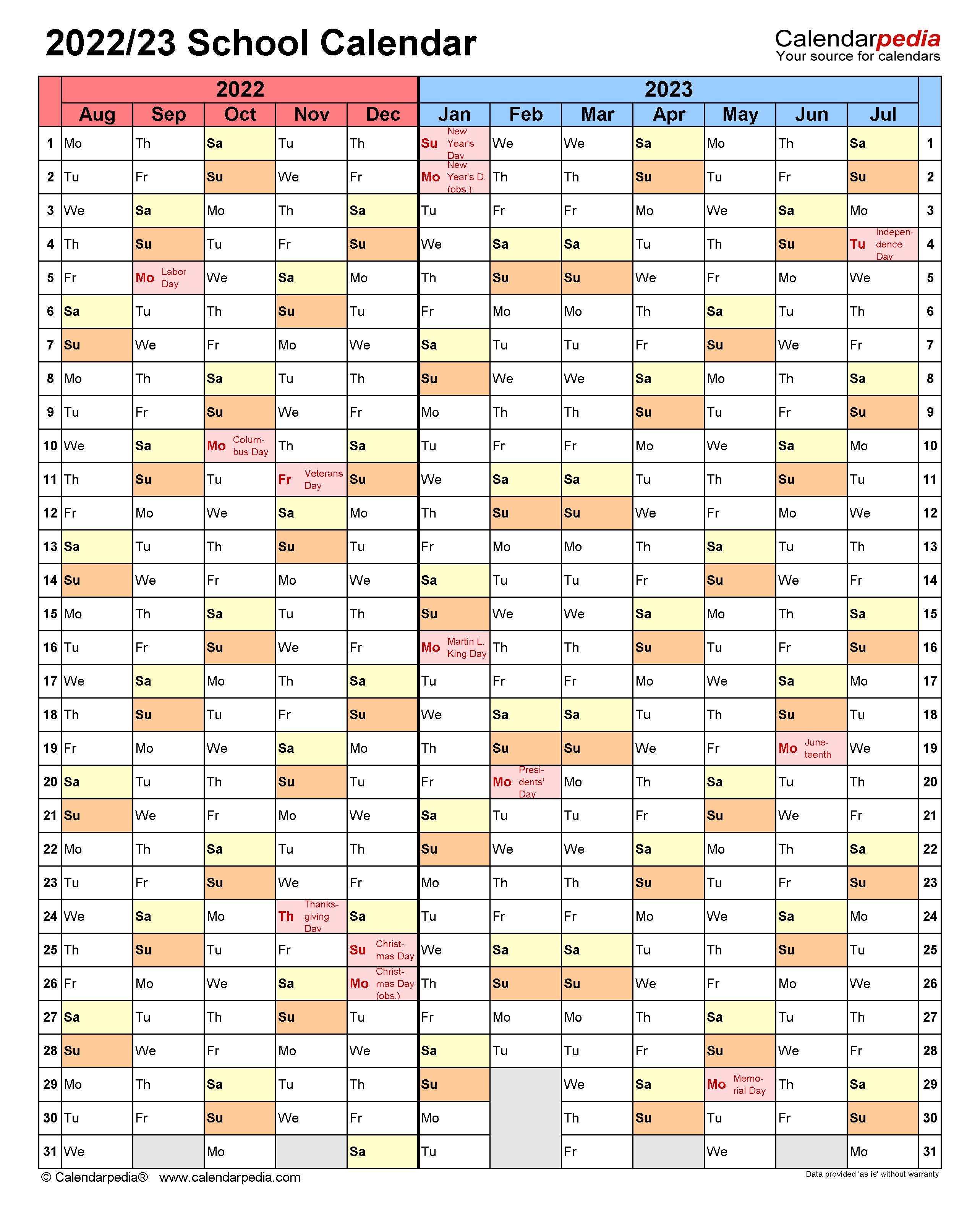 Cusd Calendar 2022 23.School Calendars 2022 2023 Free Printable Word Templates