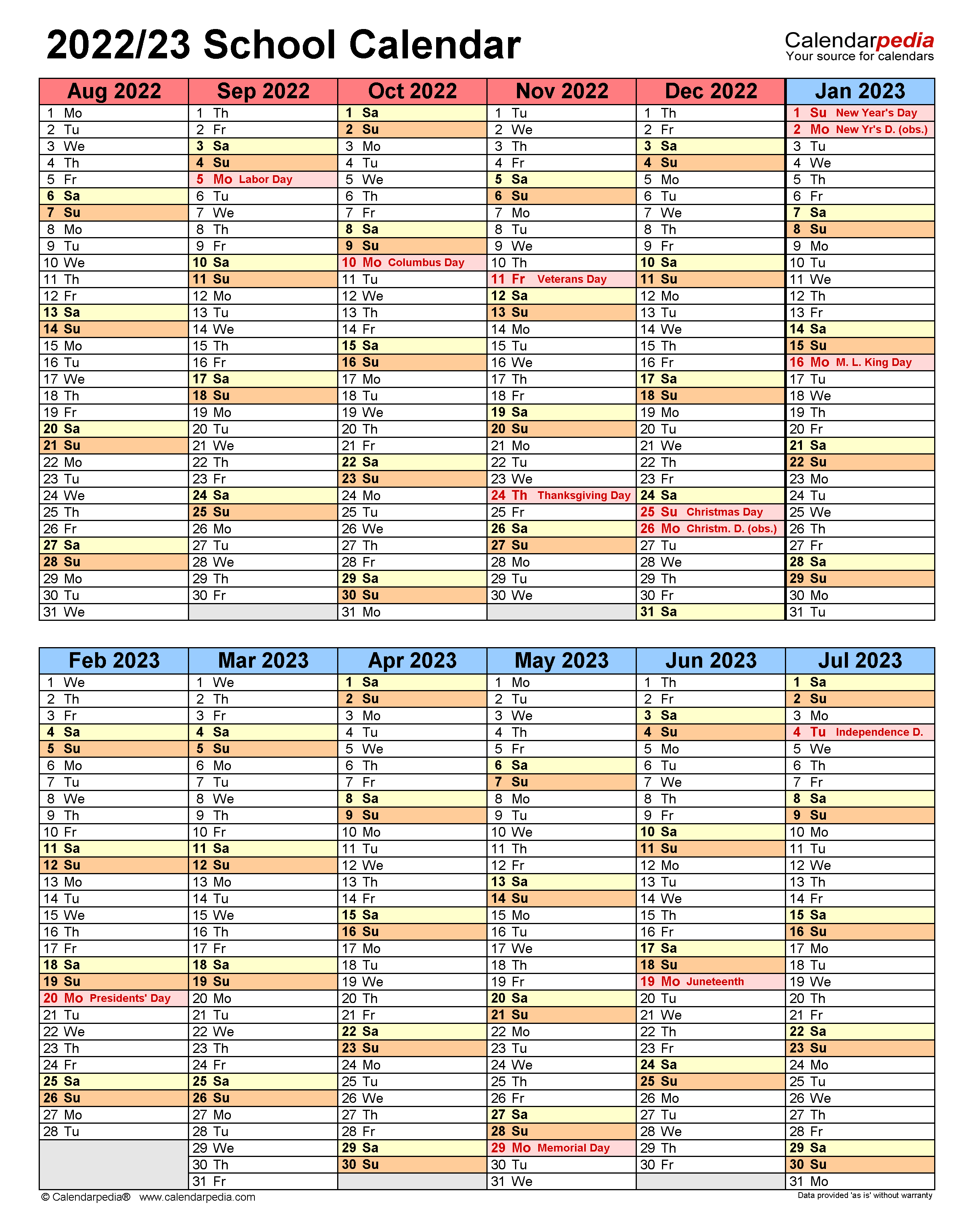 Ccps Calendar 2022 23.School Calendars 2022 2023 Free Printable Word Templates