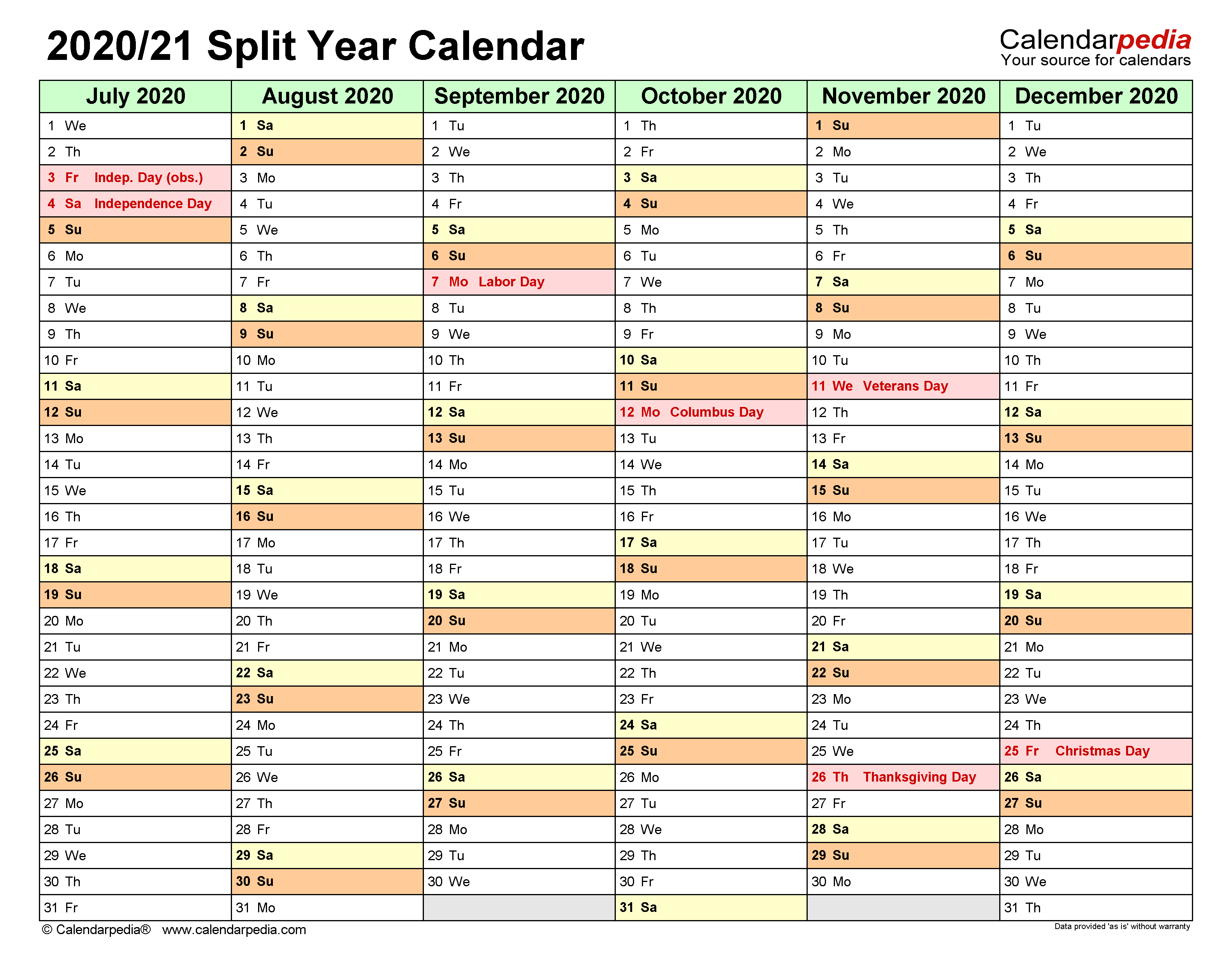 Split Year Calendars 2020/2021 (July to June) - PDF templates