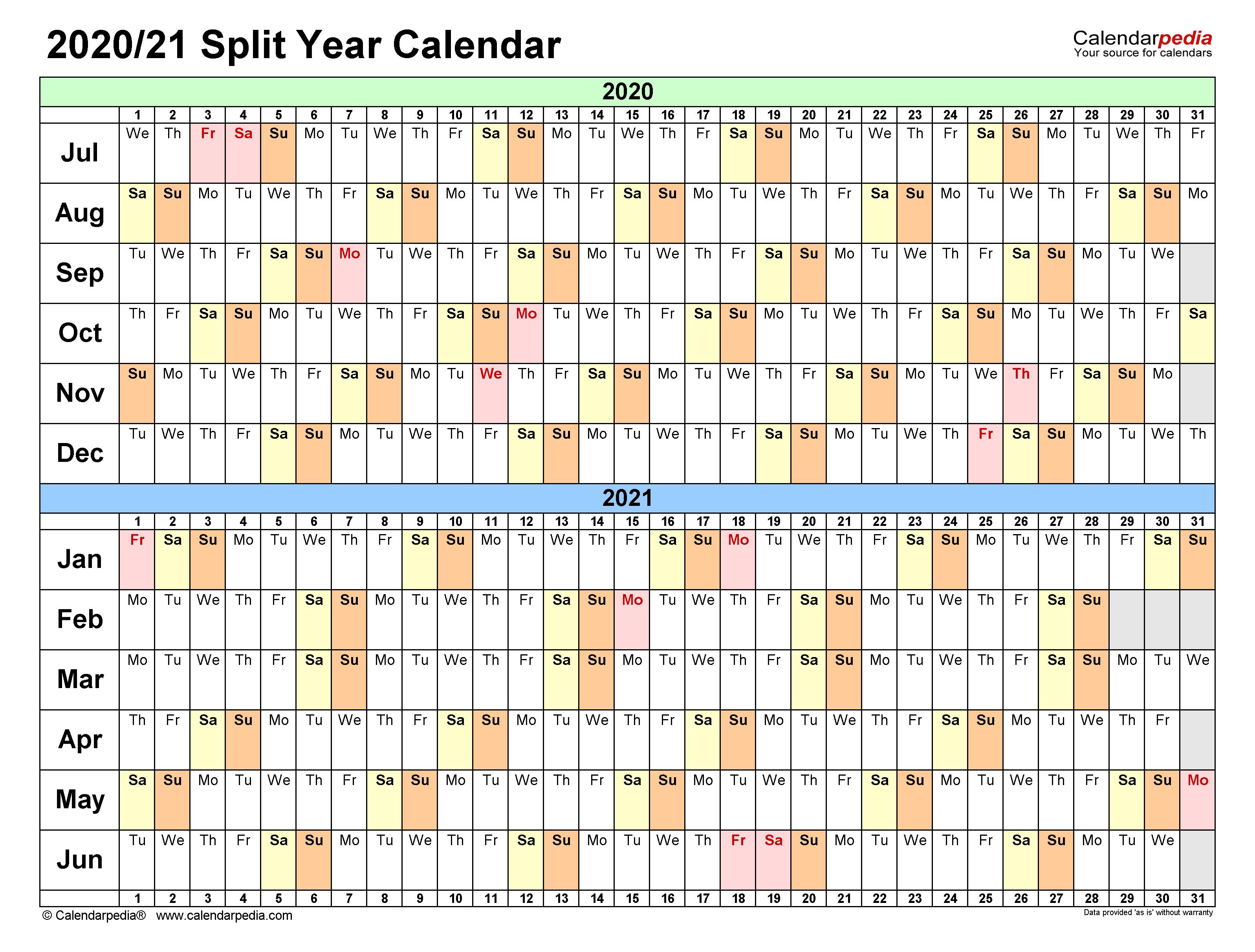 Split Year Calendars 2020/2021 (July to June) - PDF templates