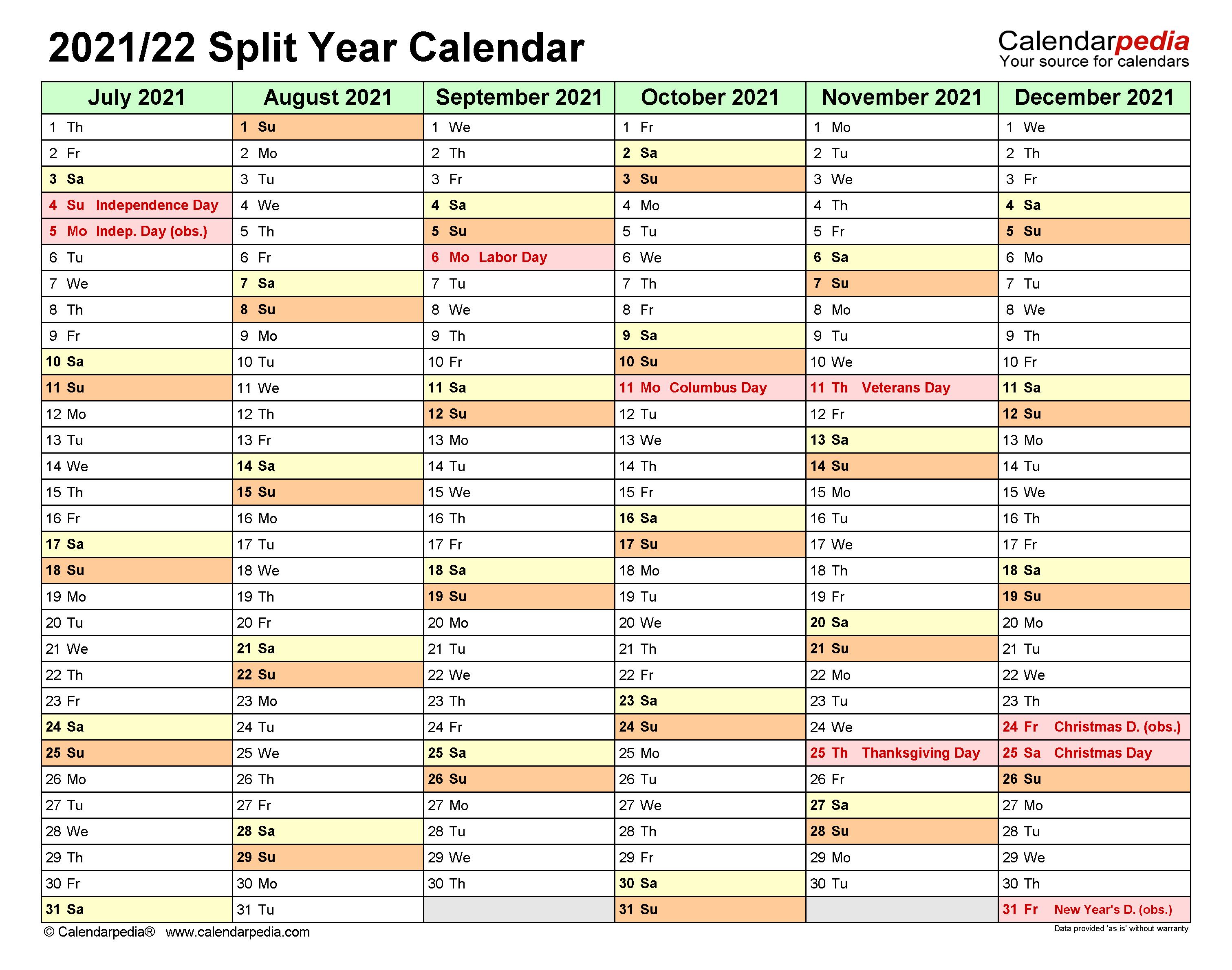 Purdue Calendar 2022 23.Split Year Calendars 2021 2022 July To June Excel Templates