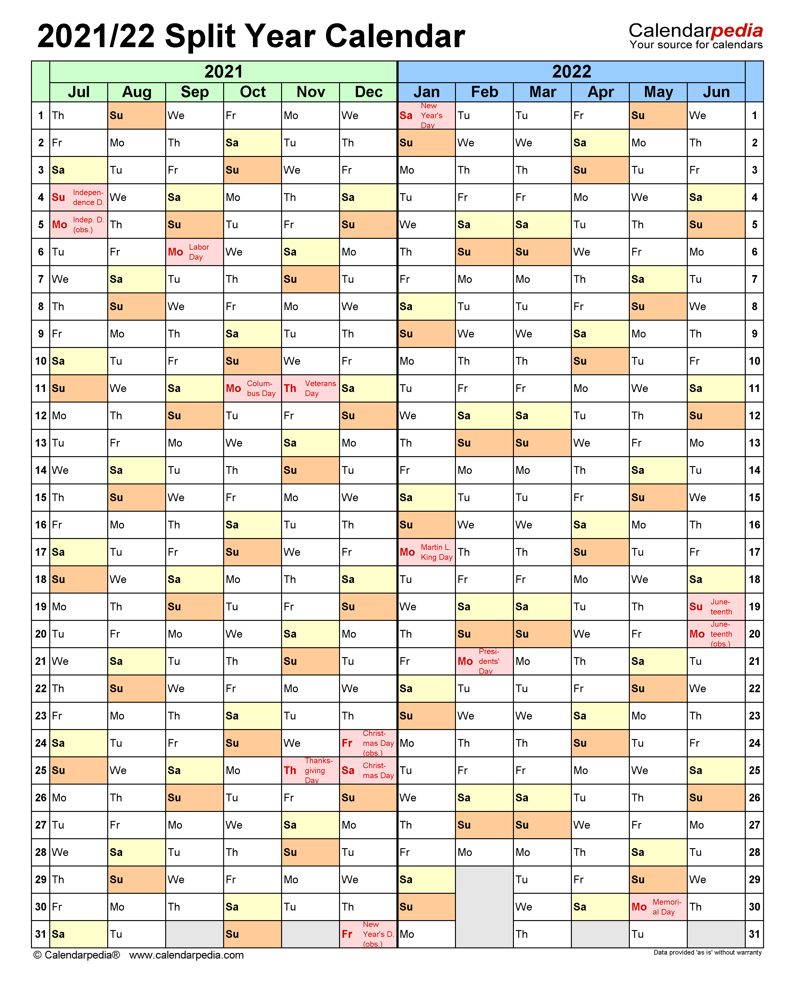 Uml Calendar Spring 2022.Split Year Calendars 2021 2022 July To June Pdf Templates