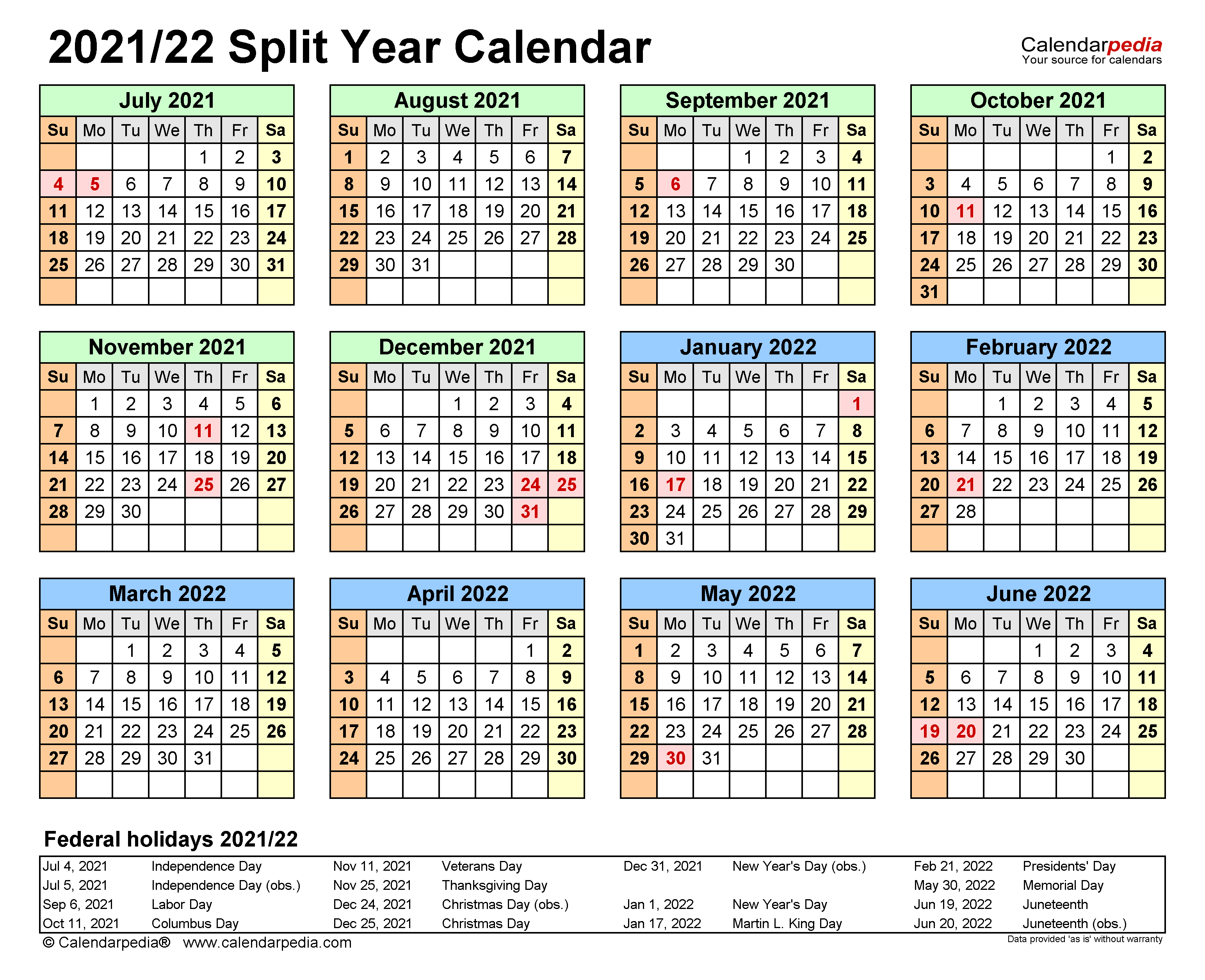 2021-22 Calendar With Holidays Split Year Calendars 2021/2022 (July to June)   PDF templates