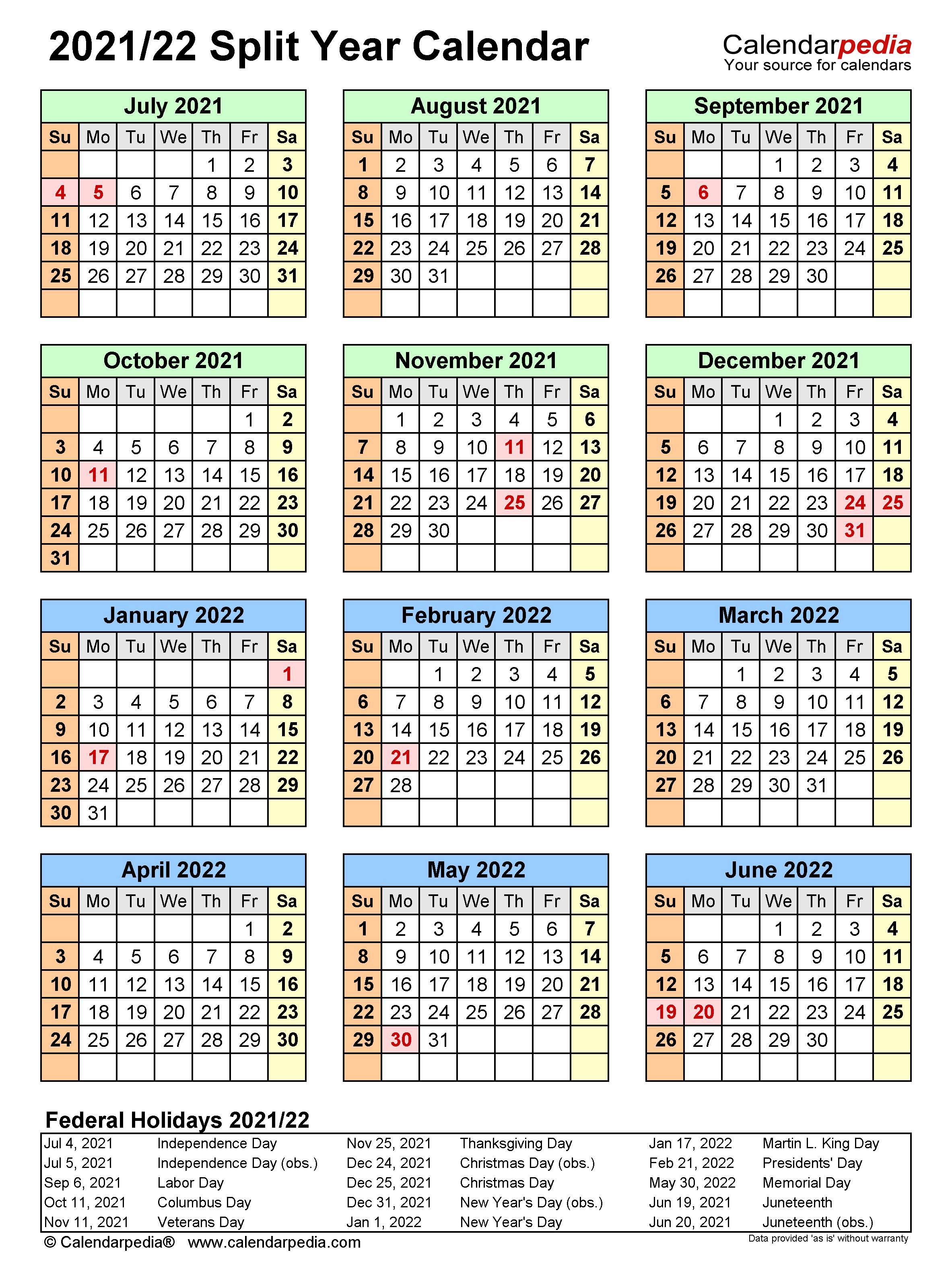 Calendar July 2021 To June 2022