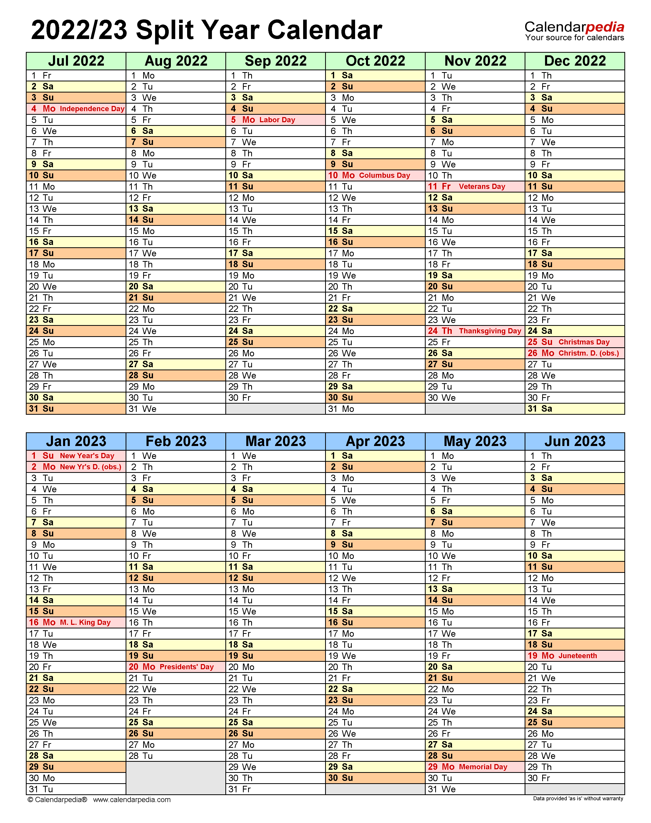 Purdue Calendar 2022 2023.Split Year Calendars 2022 2023 July To June Pdf Templates
