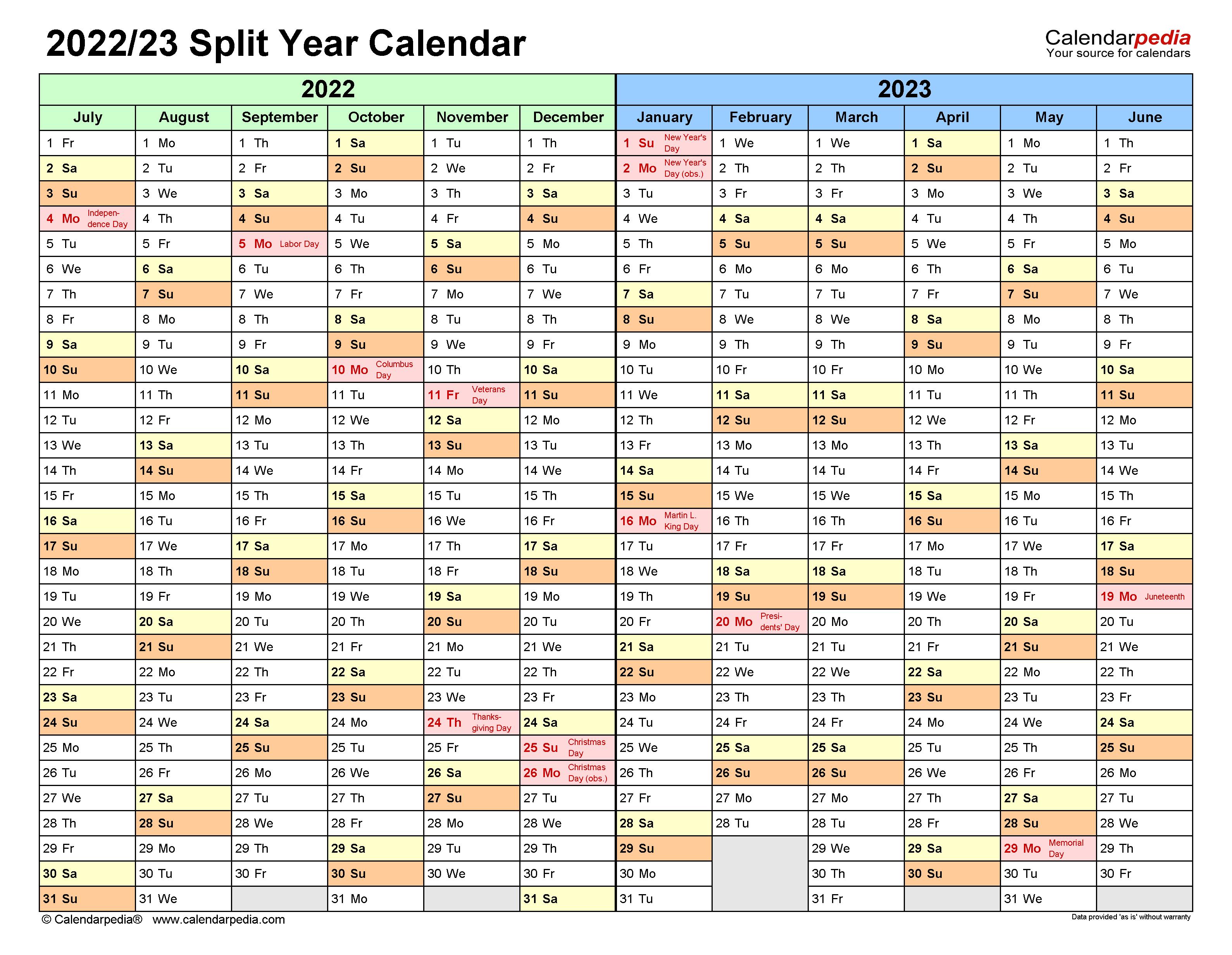 Uiuc Calendar 2022 23.Split Year Calendars 2022 2023 July To June Pdf Templates