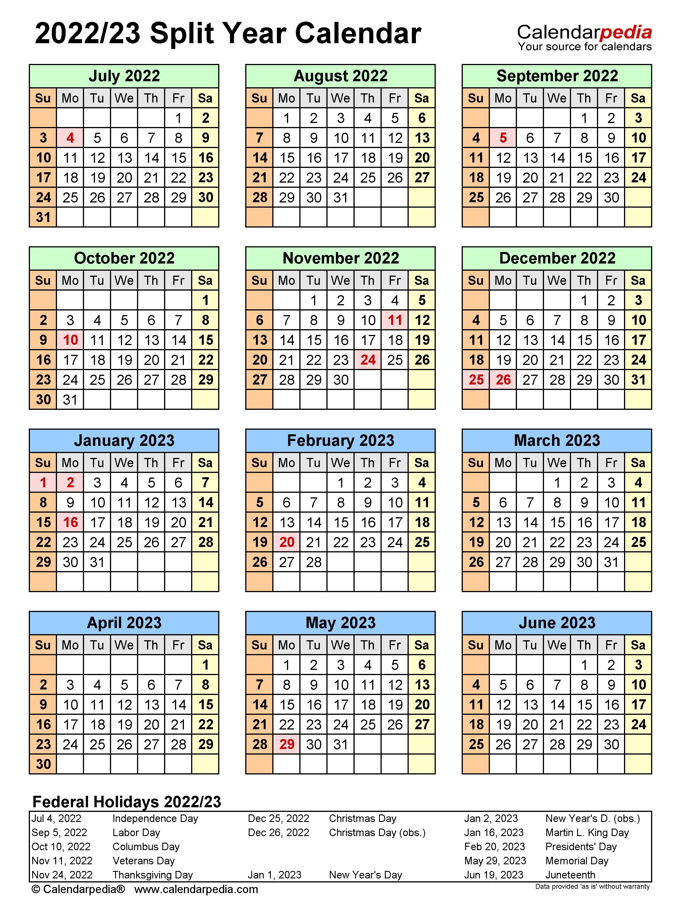 Yale Calendar 2022 2023.Split Year Calendars 2022 2023 July To June Pdf Templates