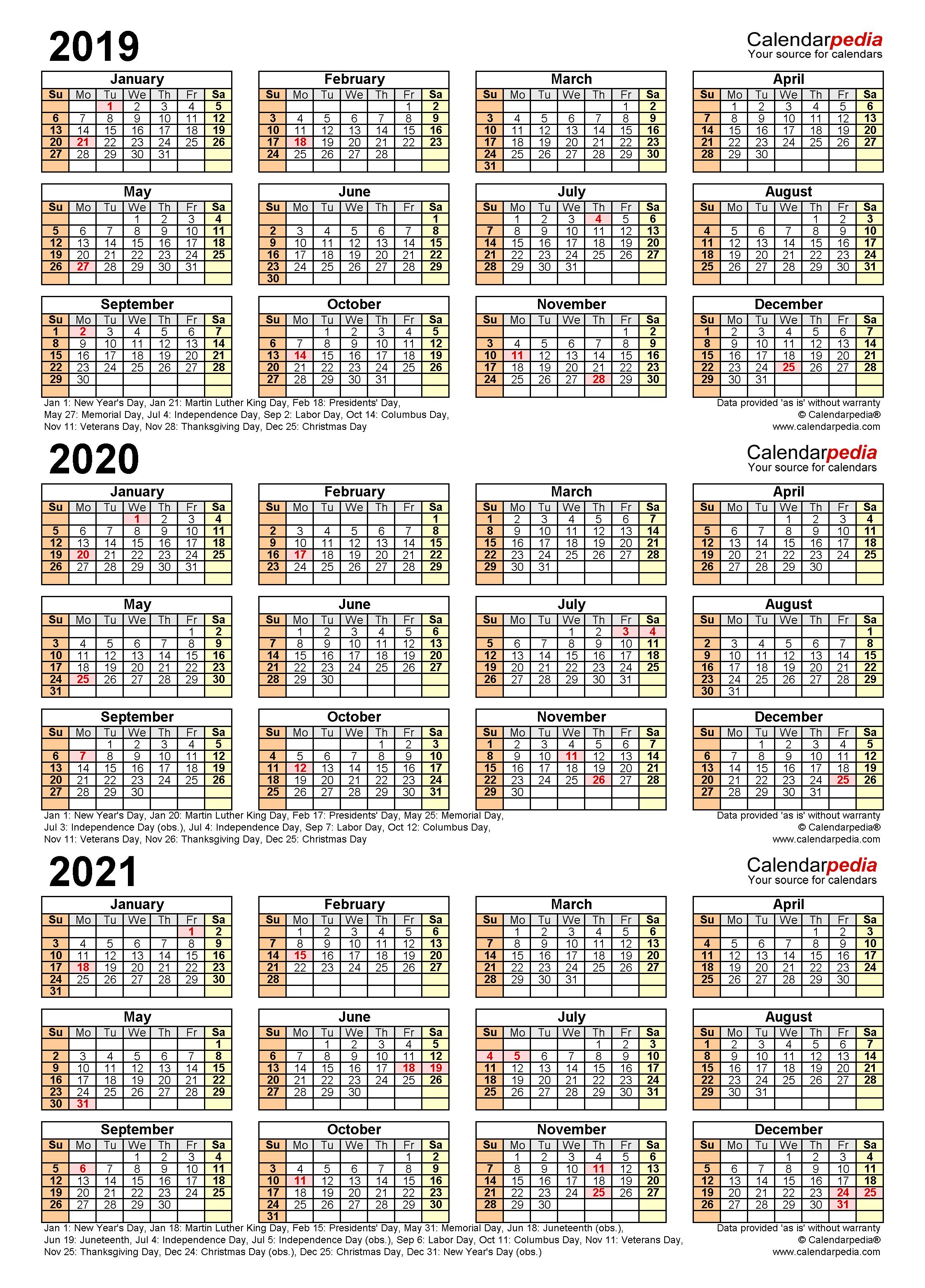 2019-2021 Three Year Calendar - Free Printable PDF Templates