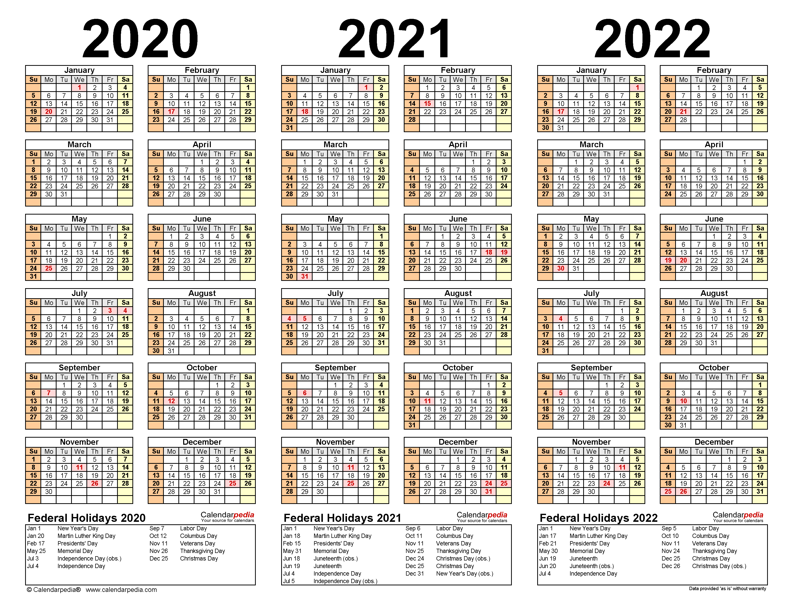 2020 2022 Three Year Calendar   Free Printable Word Templates
