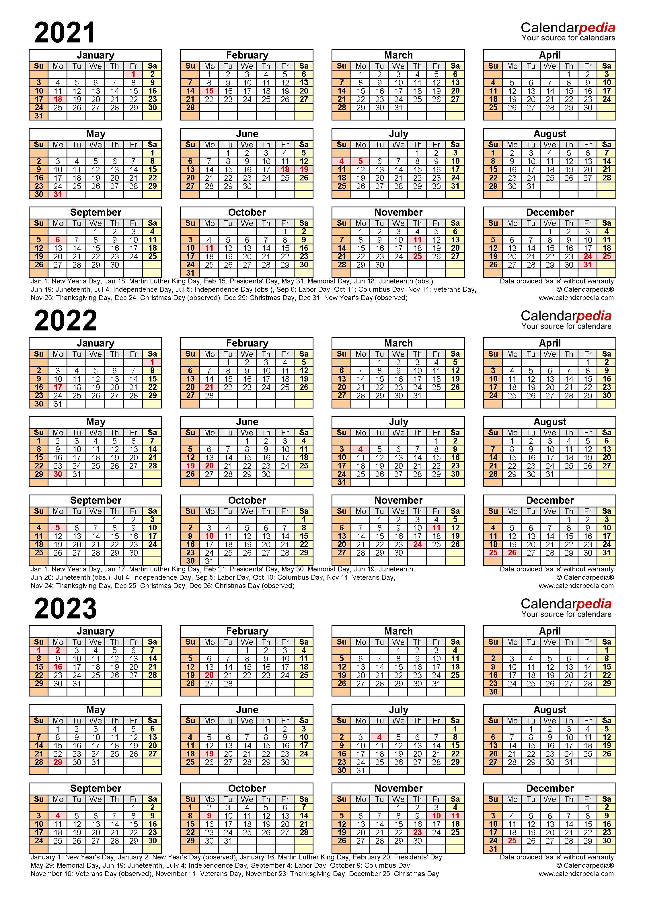 Uf Calendar 2023 To 2022.2021 2023 Three Year Calendar Free Printable Word Templates